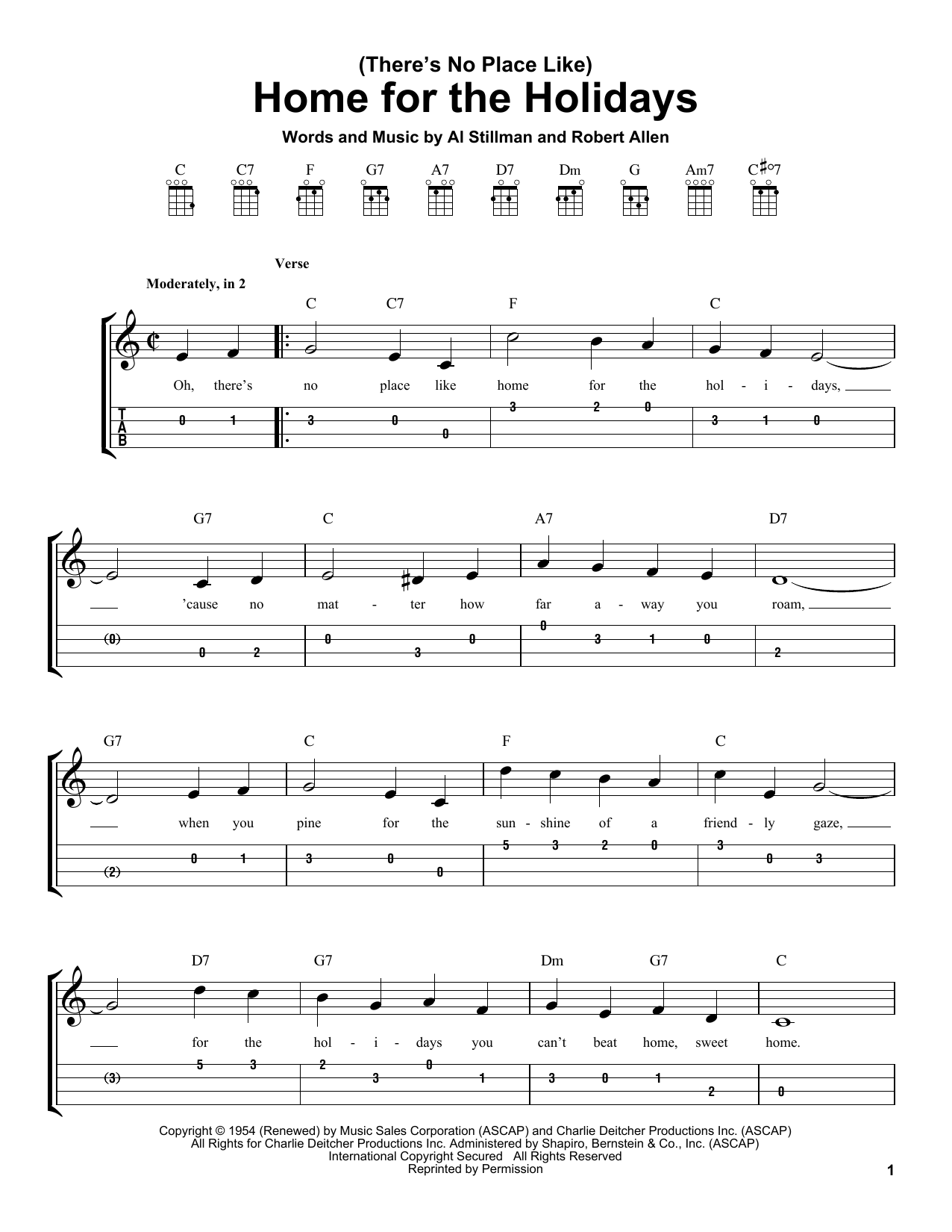 (There's No Place Like) Home For The Holidays (Easy Ukulele Tab)