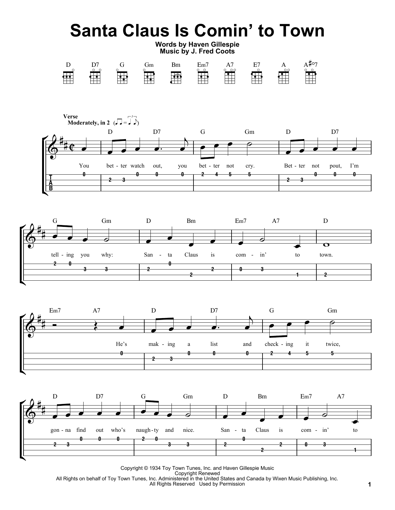 Santa Claus Is Comin' To Town (Easy Ukulele Tab)