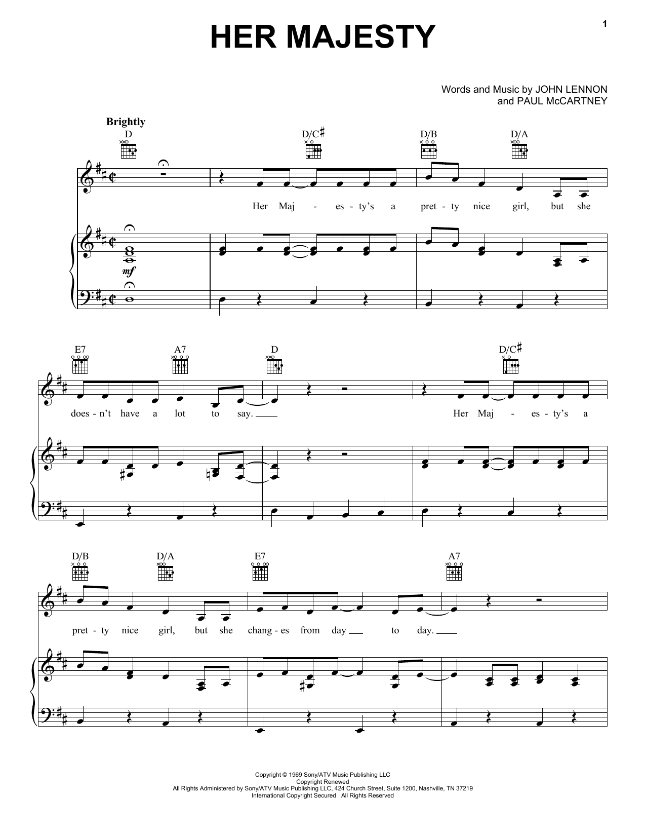 Her Majesty (Piano, Vocal & Guitar (Right-Hand Melody))