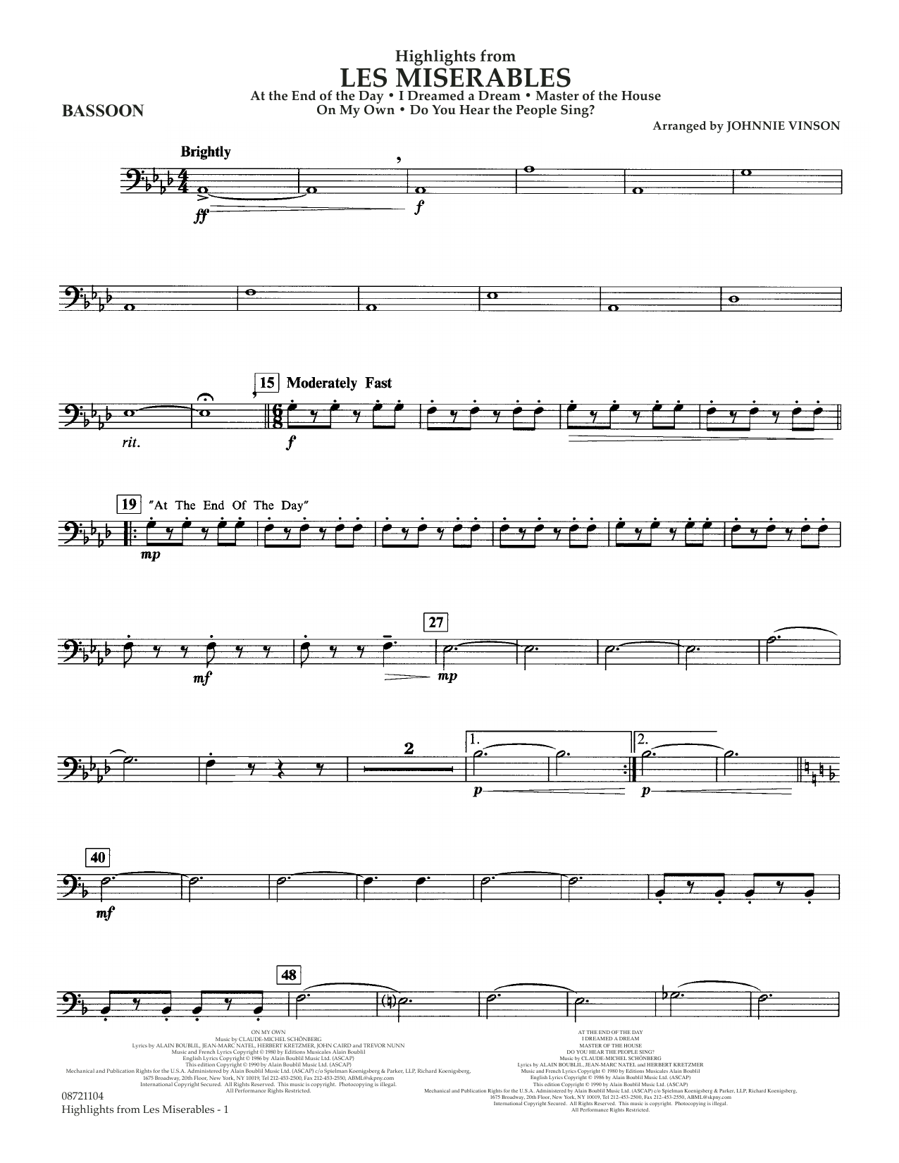 Highlights from Les Misérables (arr. Johnnie Vinson) - Bassoon (Concert Band)