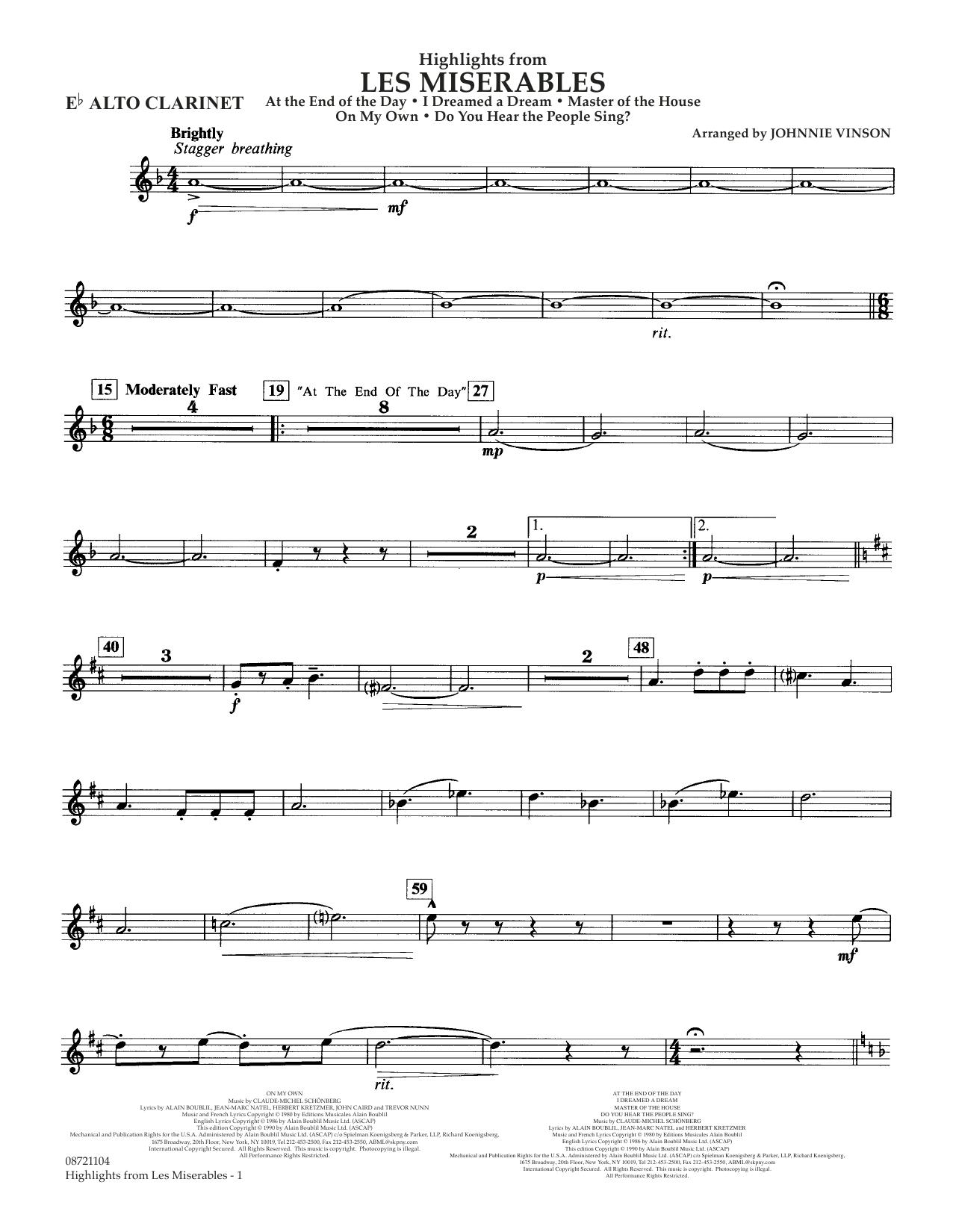 Highlights from Les Misérables (arr. Johnnie Vinson) - Eb Alto Clarinet (Concert Band)