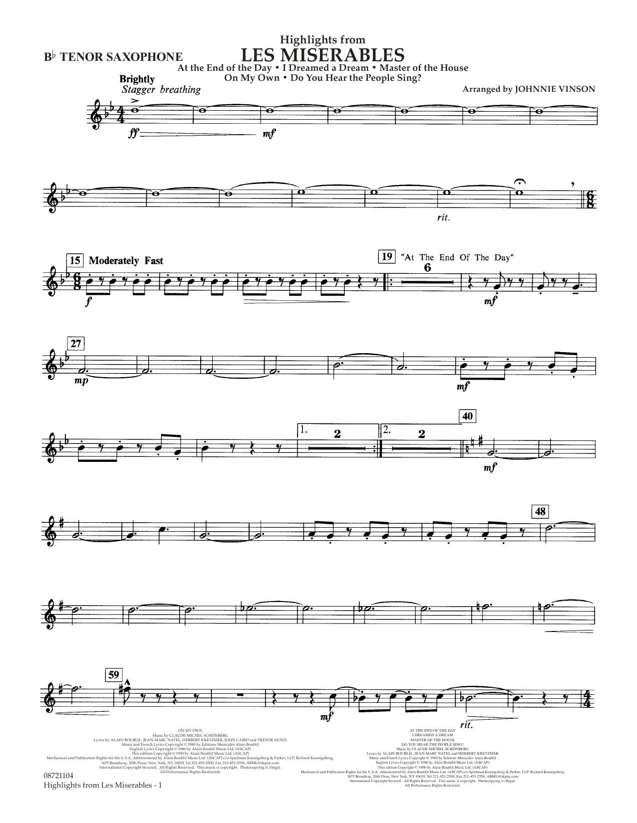 Highlights from Les Misérables (arr. Johnnie Vinson) - Bb Tenor Sax (Concert Band)