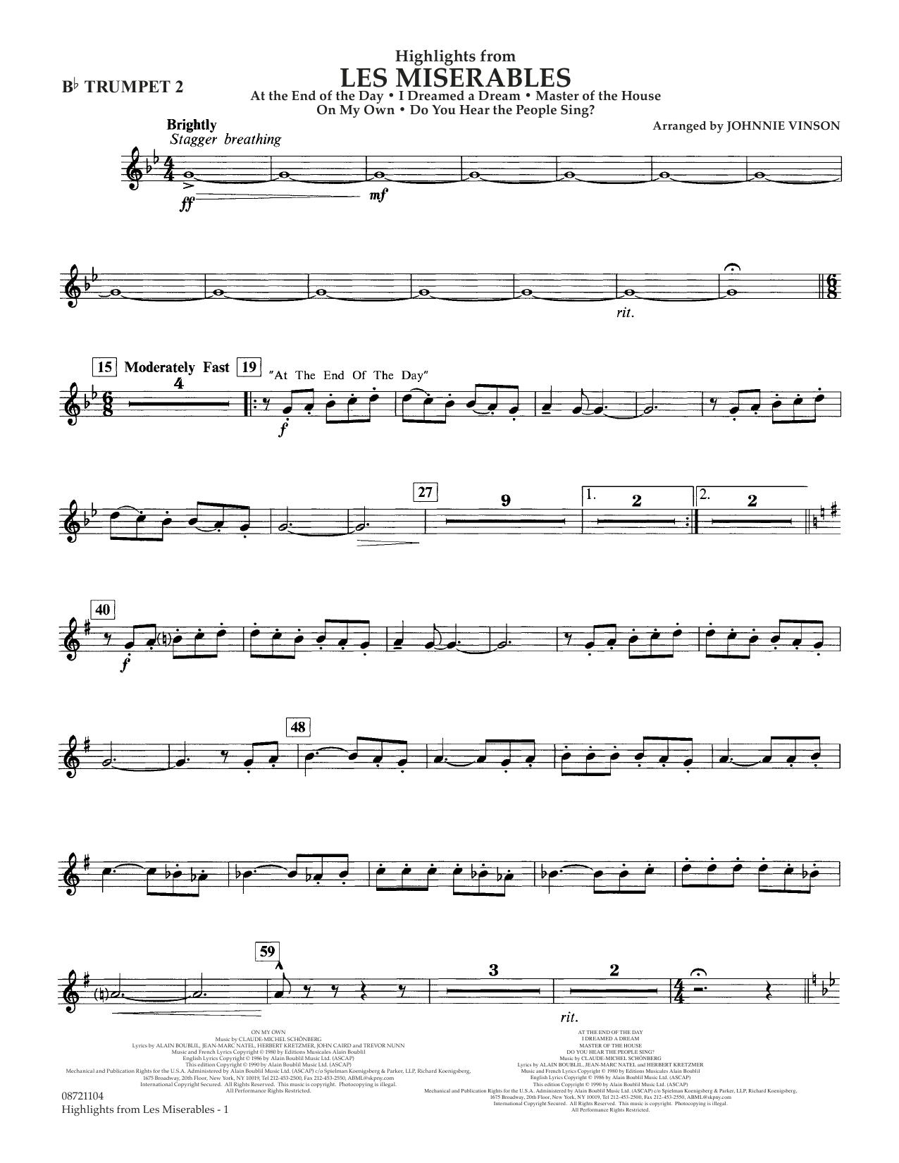 Highlights from Les Misérables (arr. Johnnie Vinson) - Bb Trumpet 2 (Concert Band)