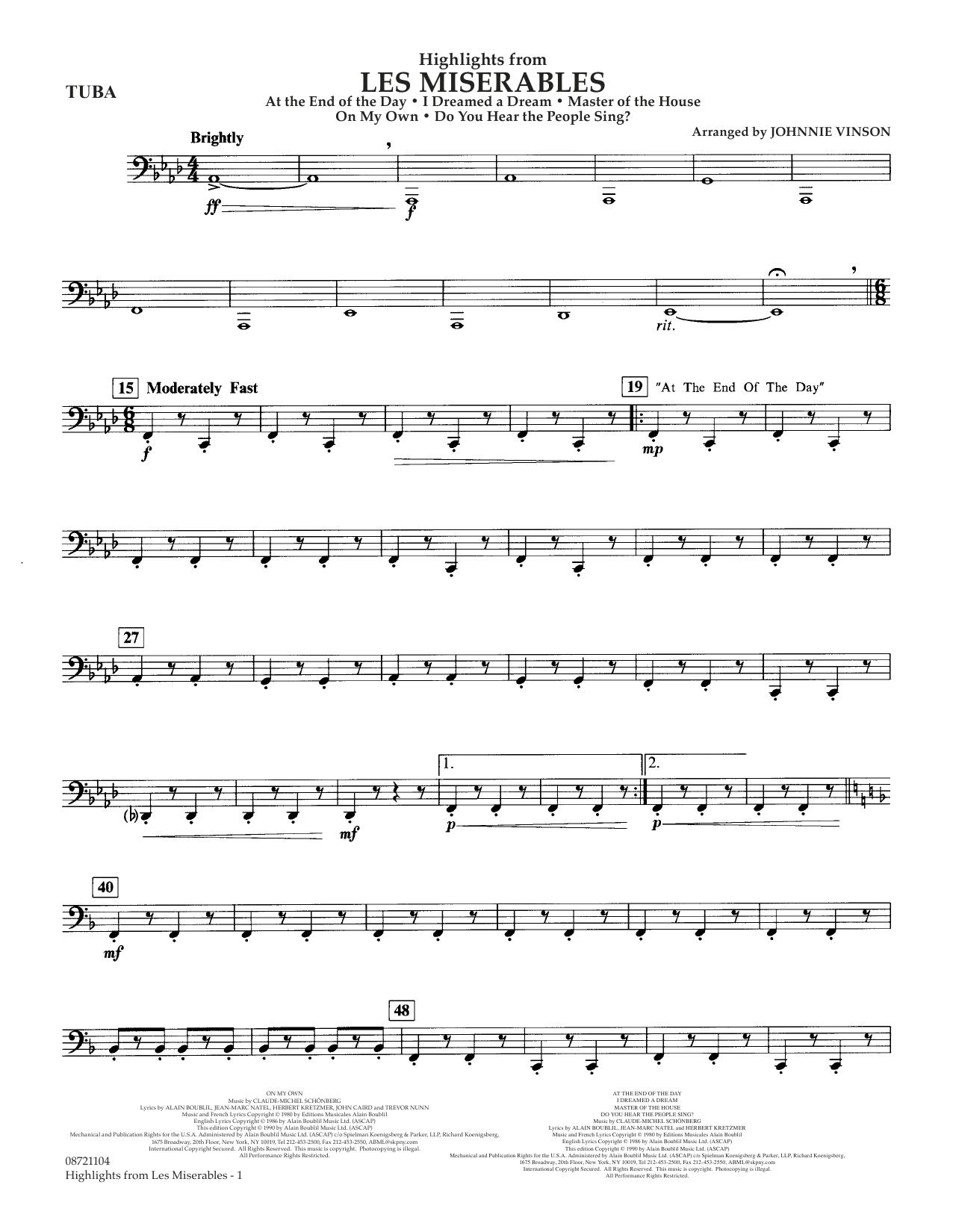 Highlights from Les Misérables (arr. Johnnie Vinson) - Tuba (Concert Band)