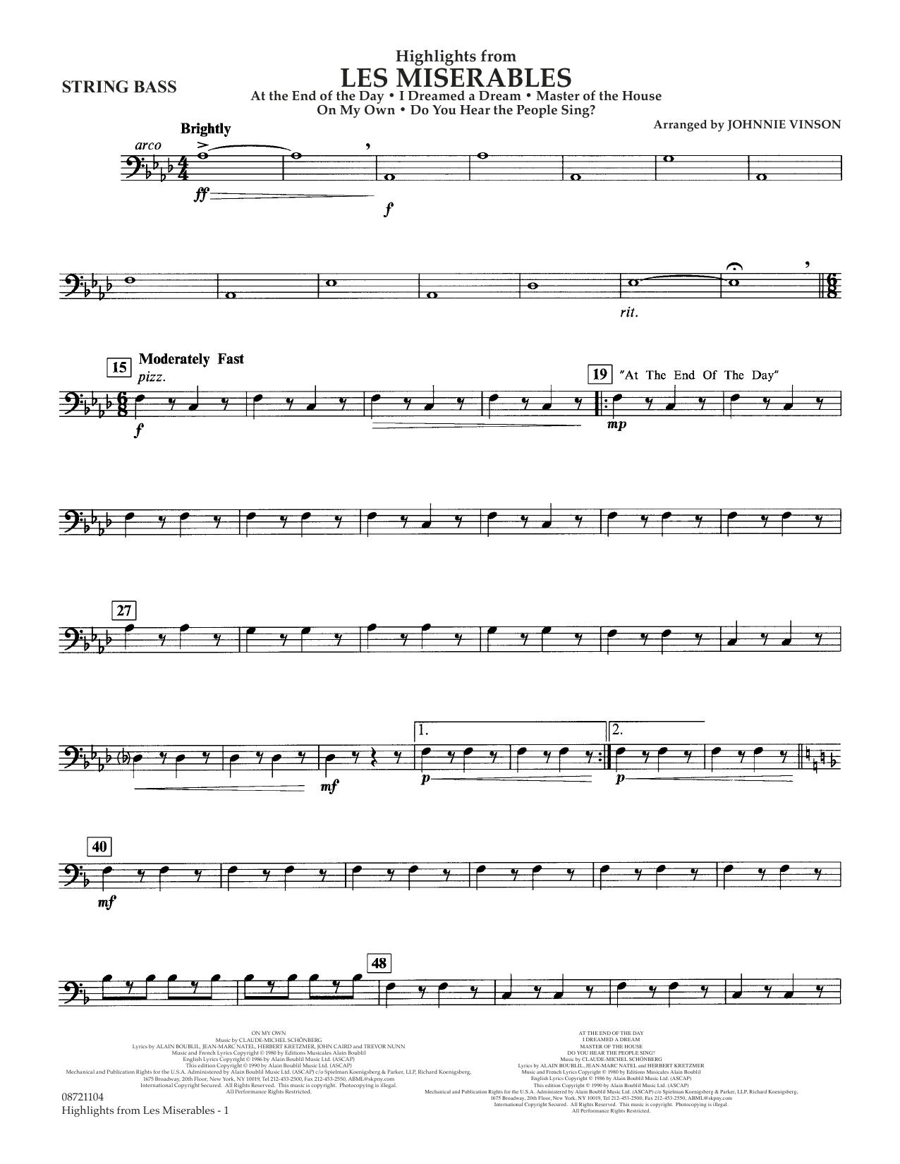 Highlights from Les Misérables (arr. Johnnie Vinson) - String Bass (Concert Band)