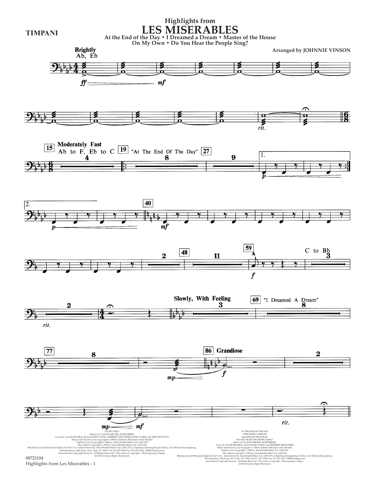 Highlights from Les Misérables (arr. Johnnie Vinson) - Timpani (Concert Band)