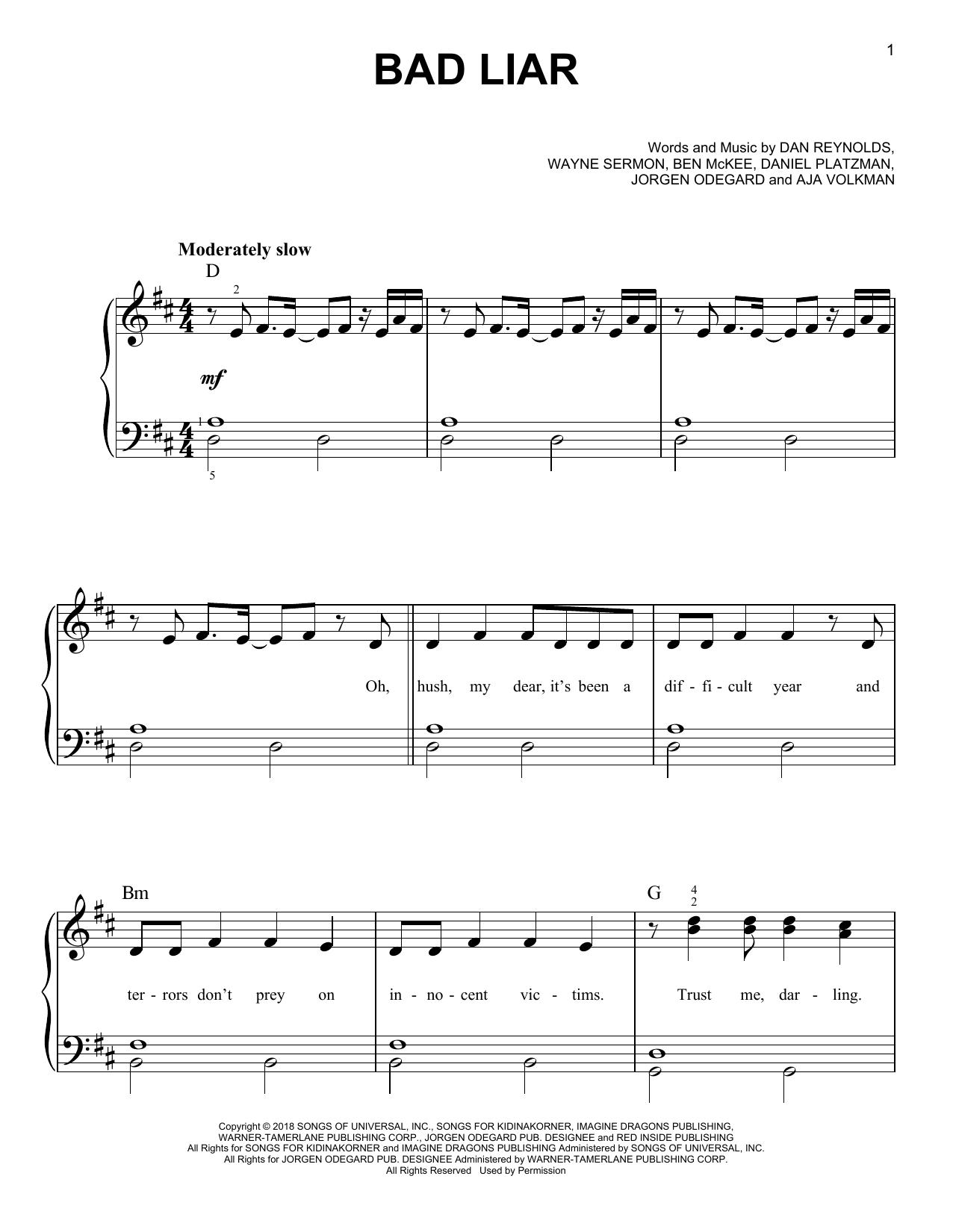 Bad Liar (Easy Piano)