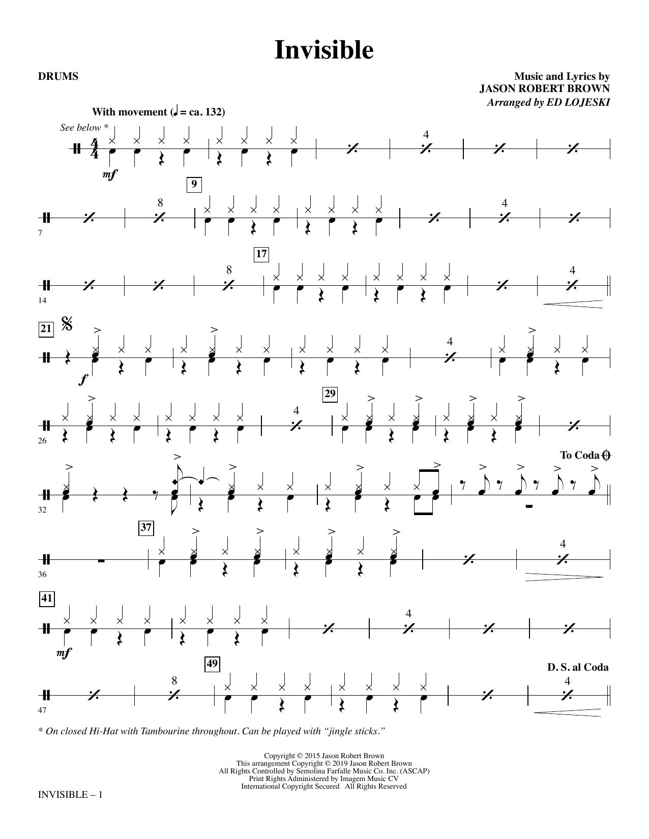 Invisible (arr. Ed Lojeski) - Drums (Choir Instrumental Pak)