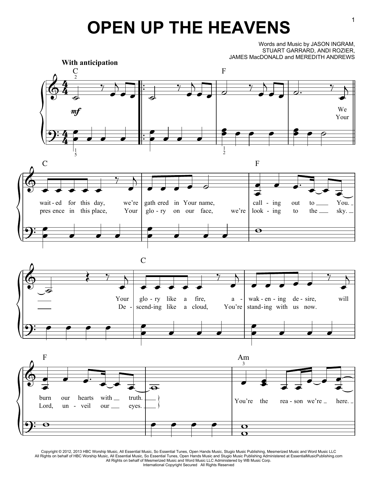 Open Up The Heavens (Easy Piano)
