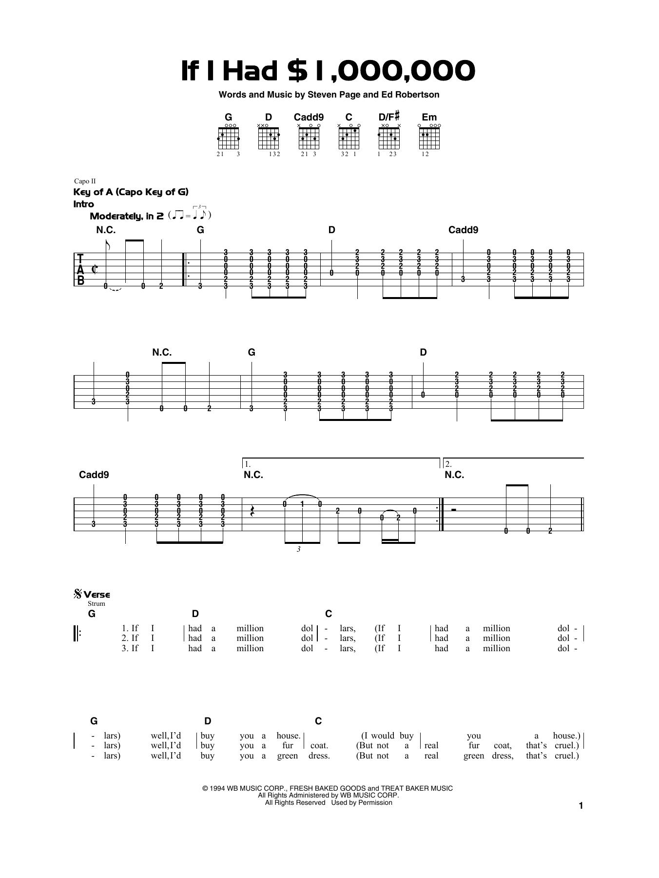 If I Had $1,000,000 (Really Easy Guitar)