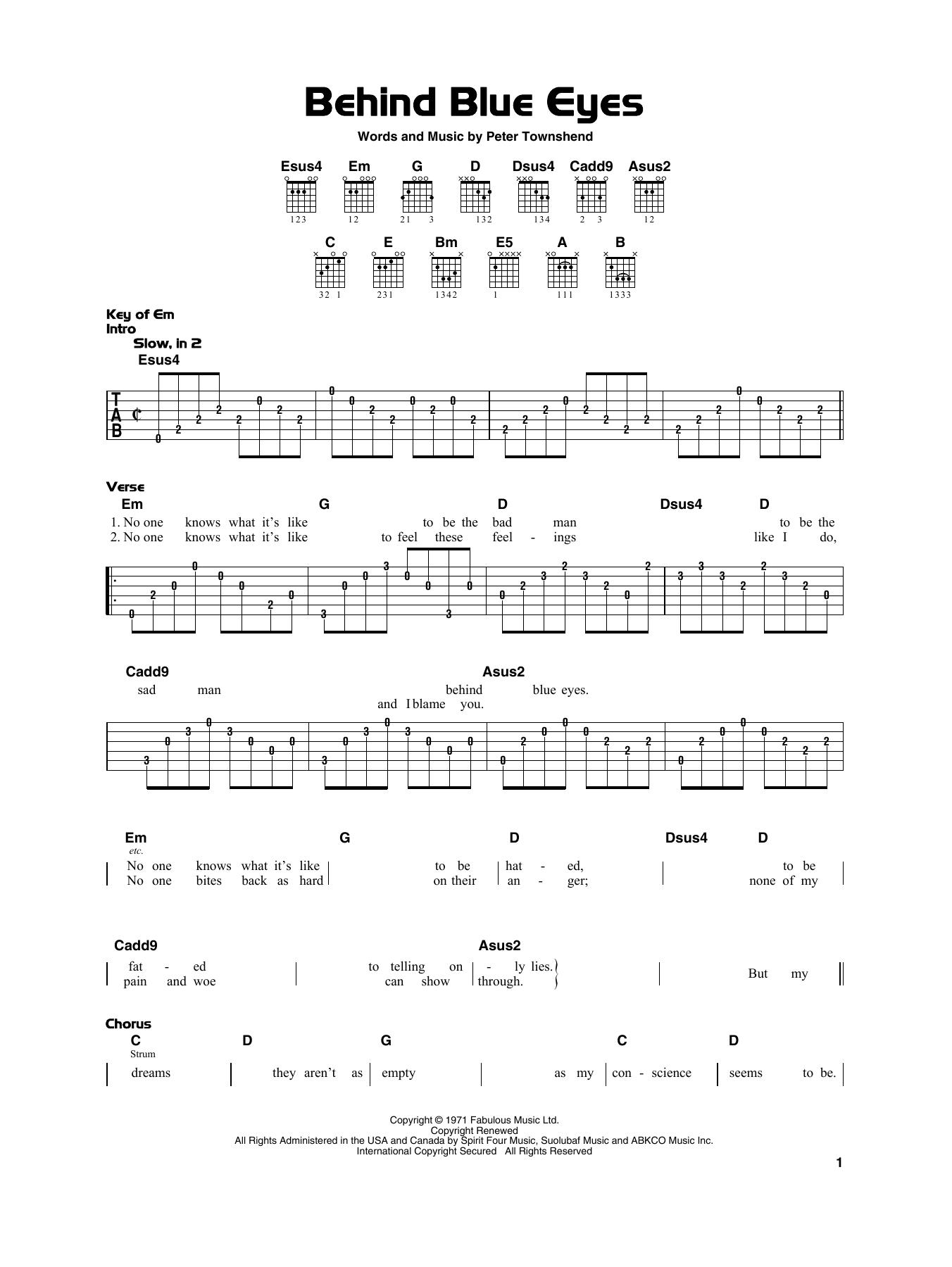 Behind Blue Eyes (Really Easy Guitar)