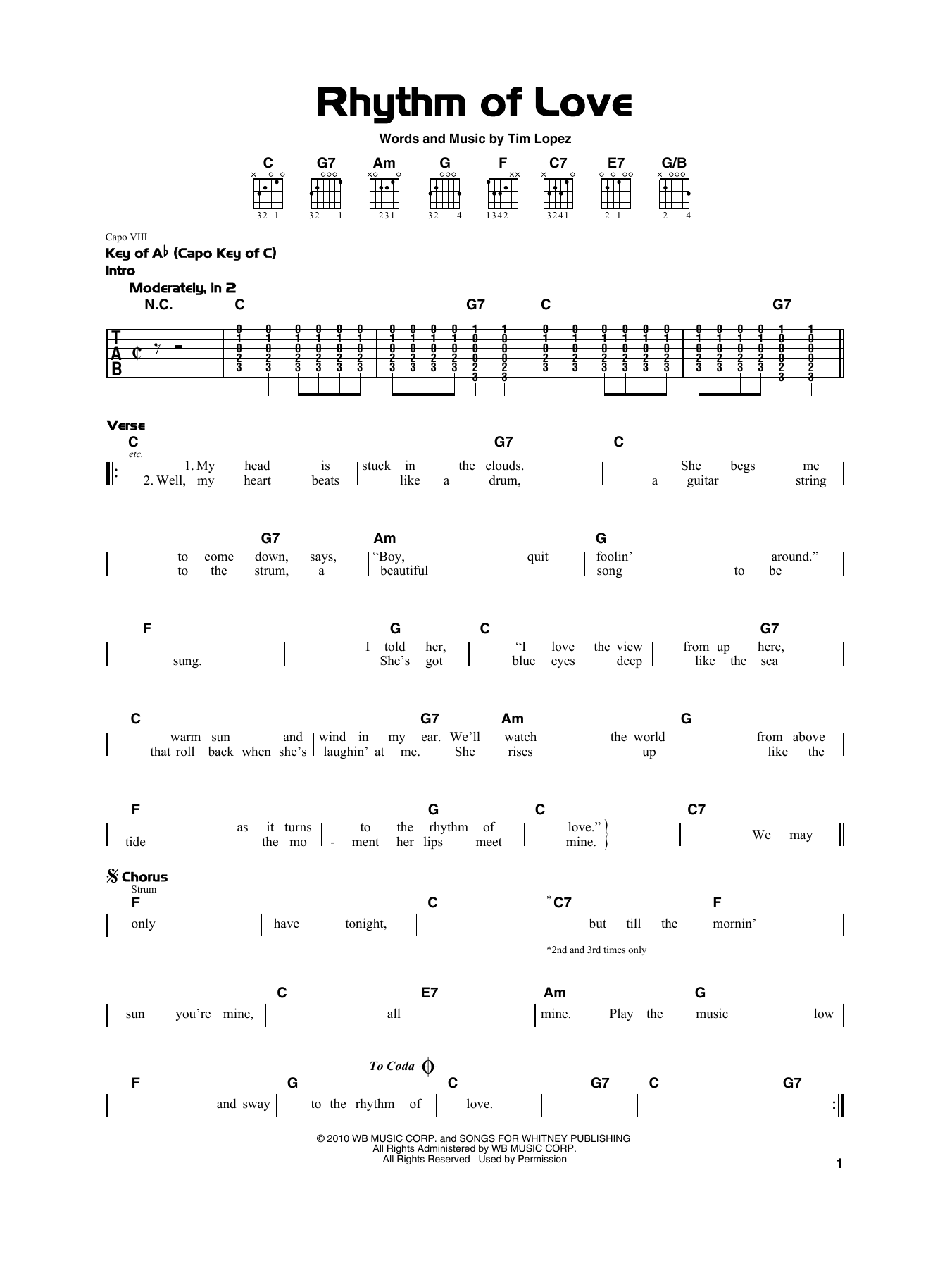 Rhythm Of Love (Really Easy Guitar)