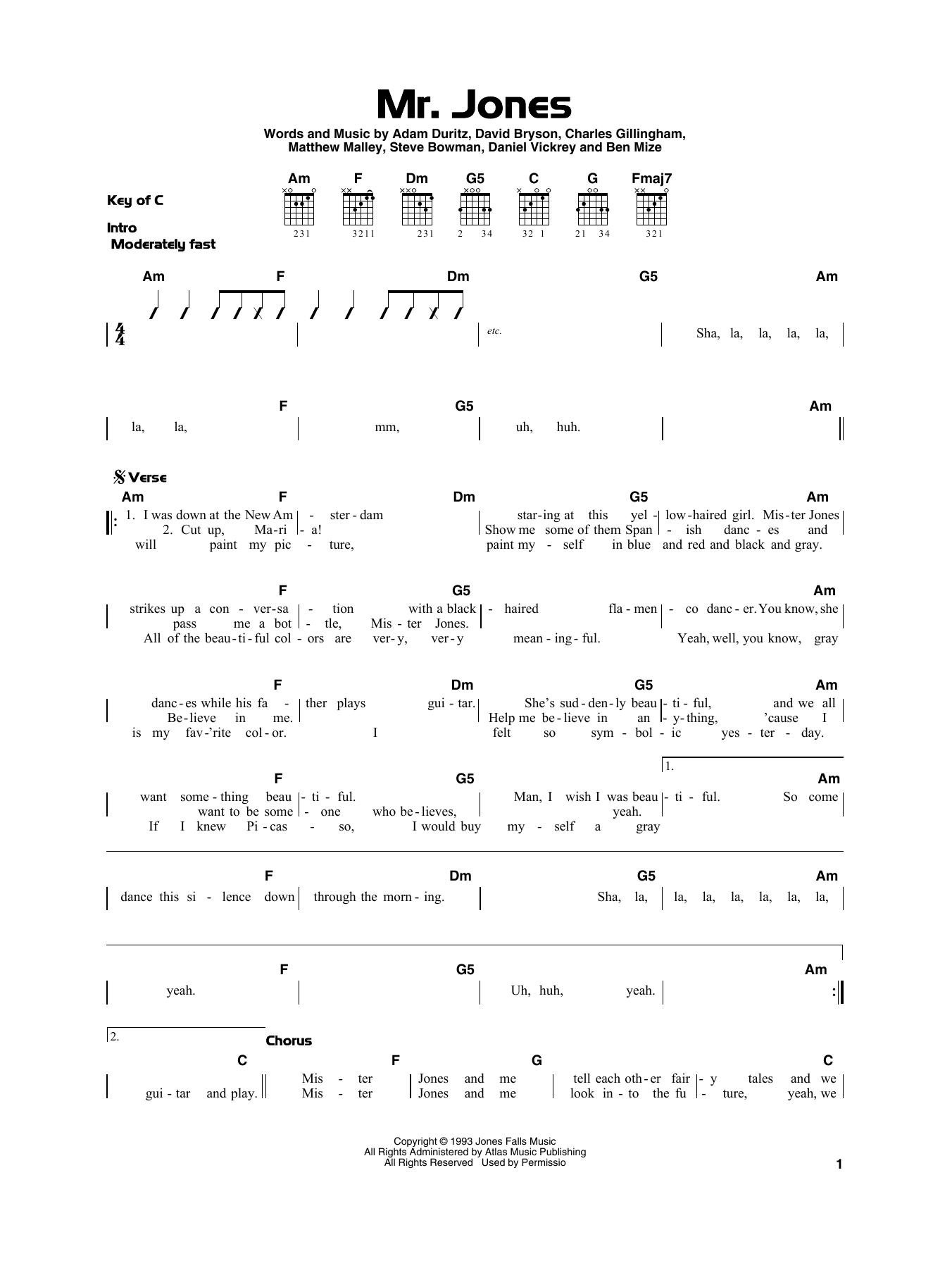 Mr. Jones Noten   Counting Crows   Gitarre, sehr leicht