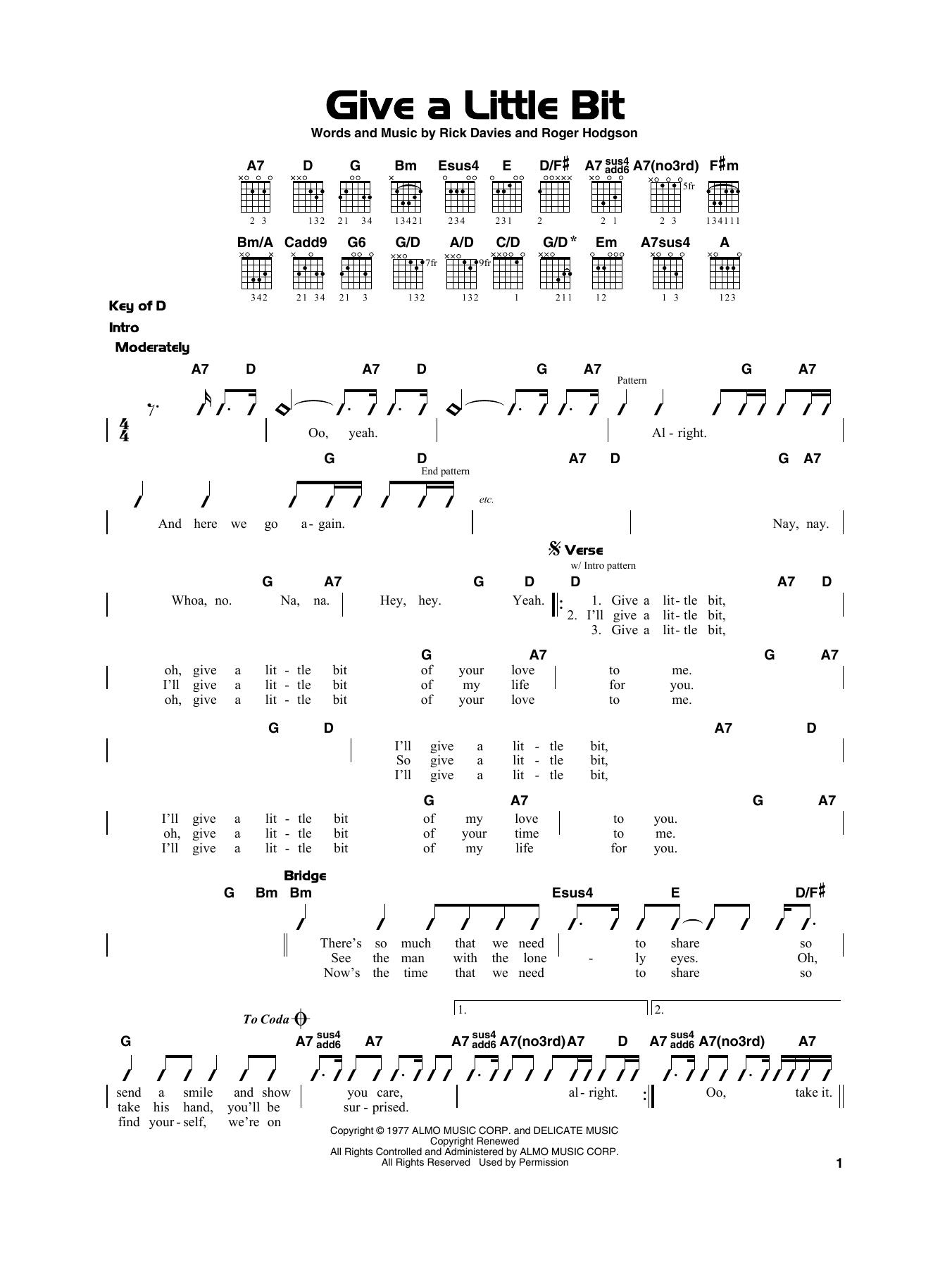 Give A Little Bit Noten   Supertramp   Gitarre, sehr leicht