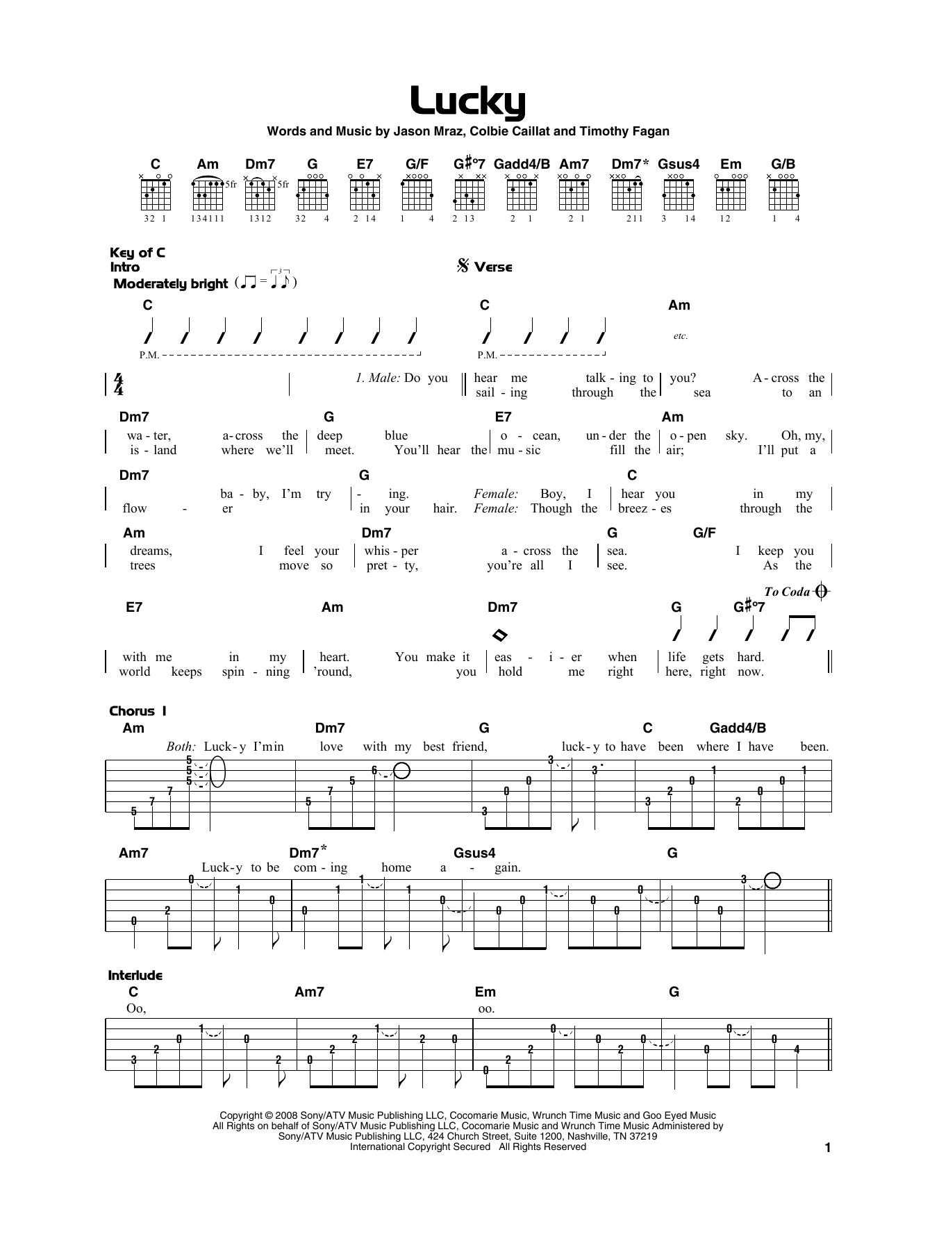 Lucky (Really Easy Guitar)