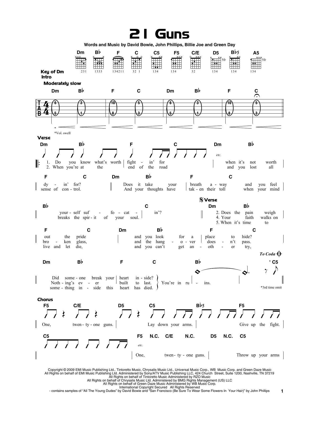 21 Guns (Really Easy Guitar)