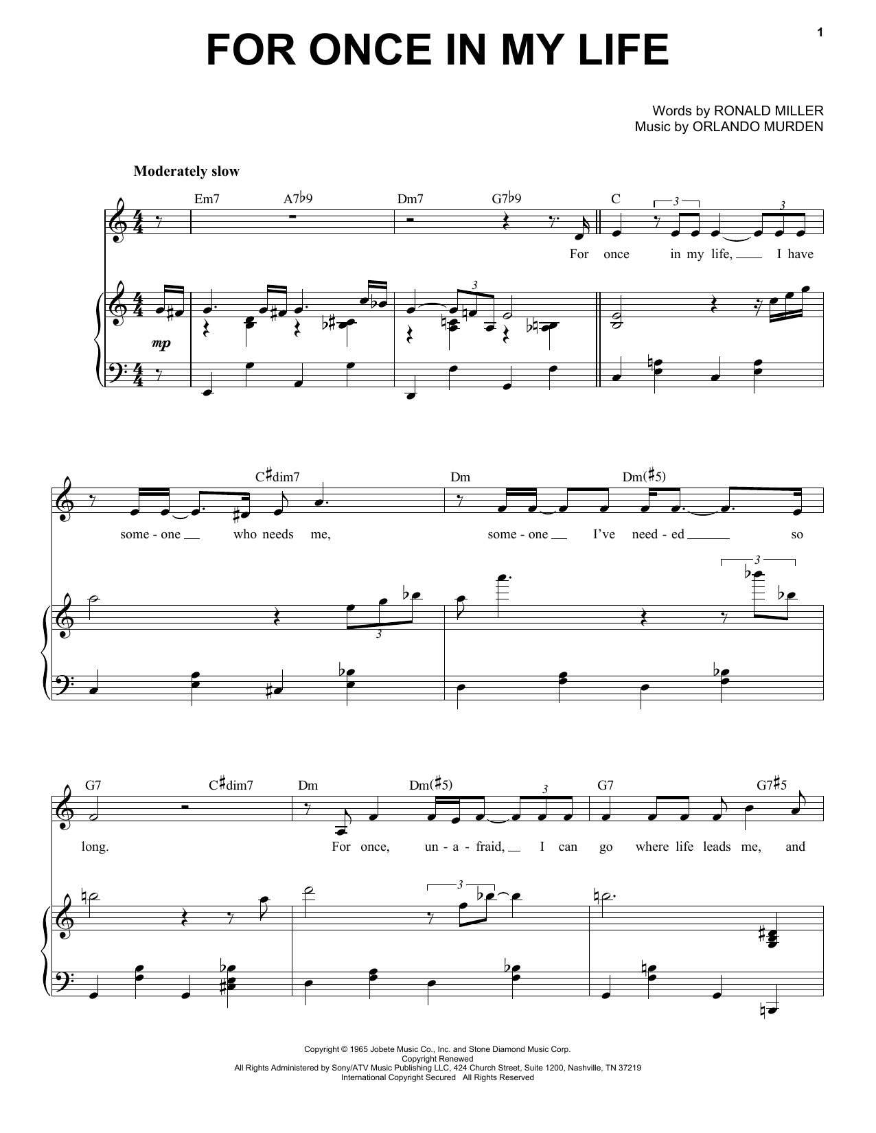 For Once In My Life (Piano & Vocal)