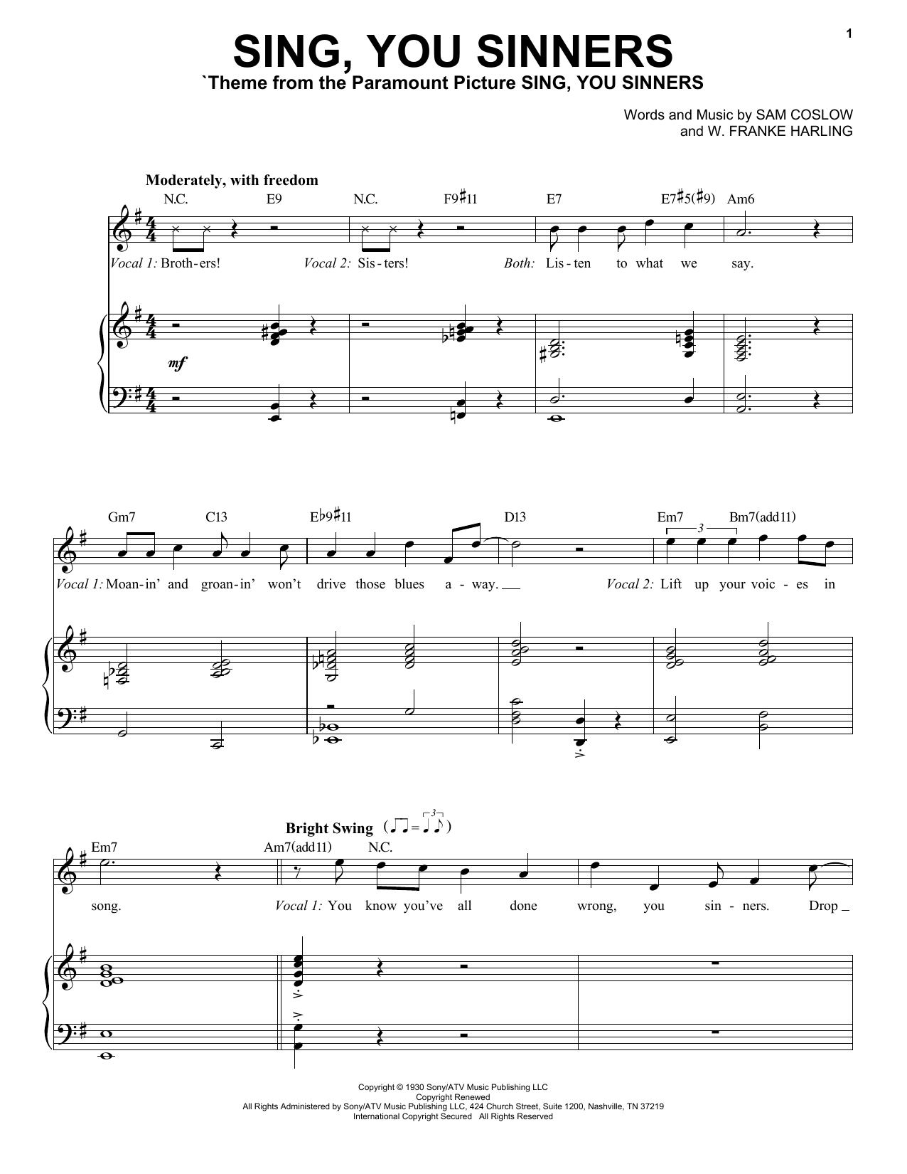 Sing, You Sinners (Piano & Vocal)