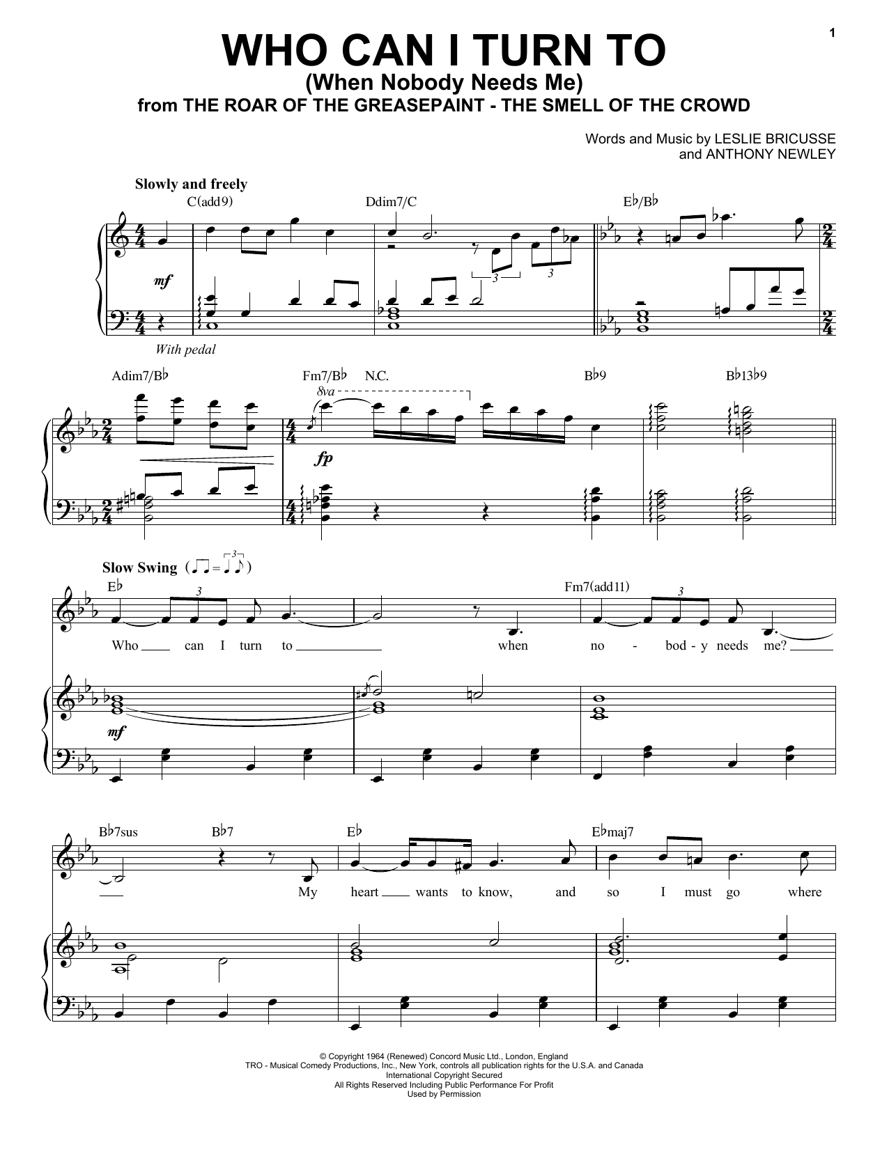 Who Can I Turn To (When Nobody Needs Me) (Piano & Vocal)