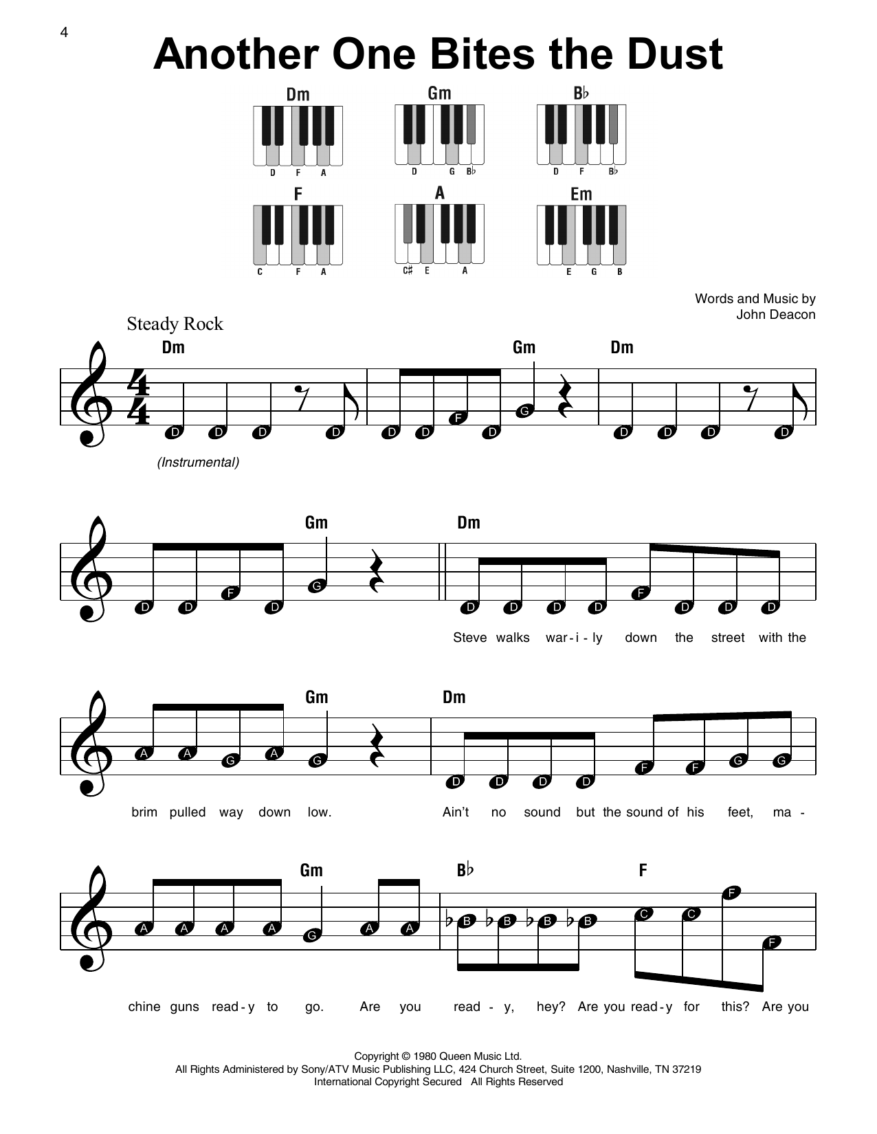 Another One Bites The Dust Sheet Music