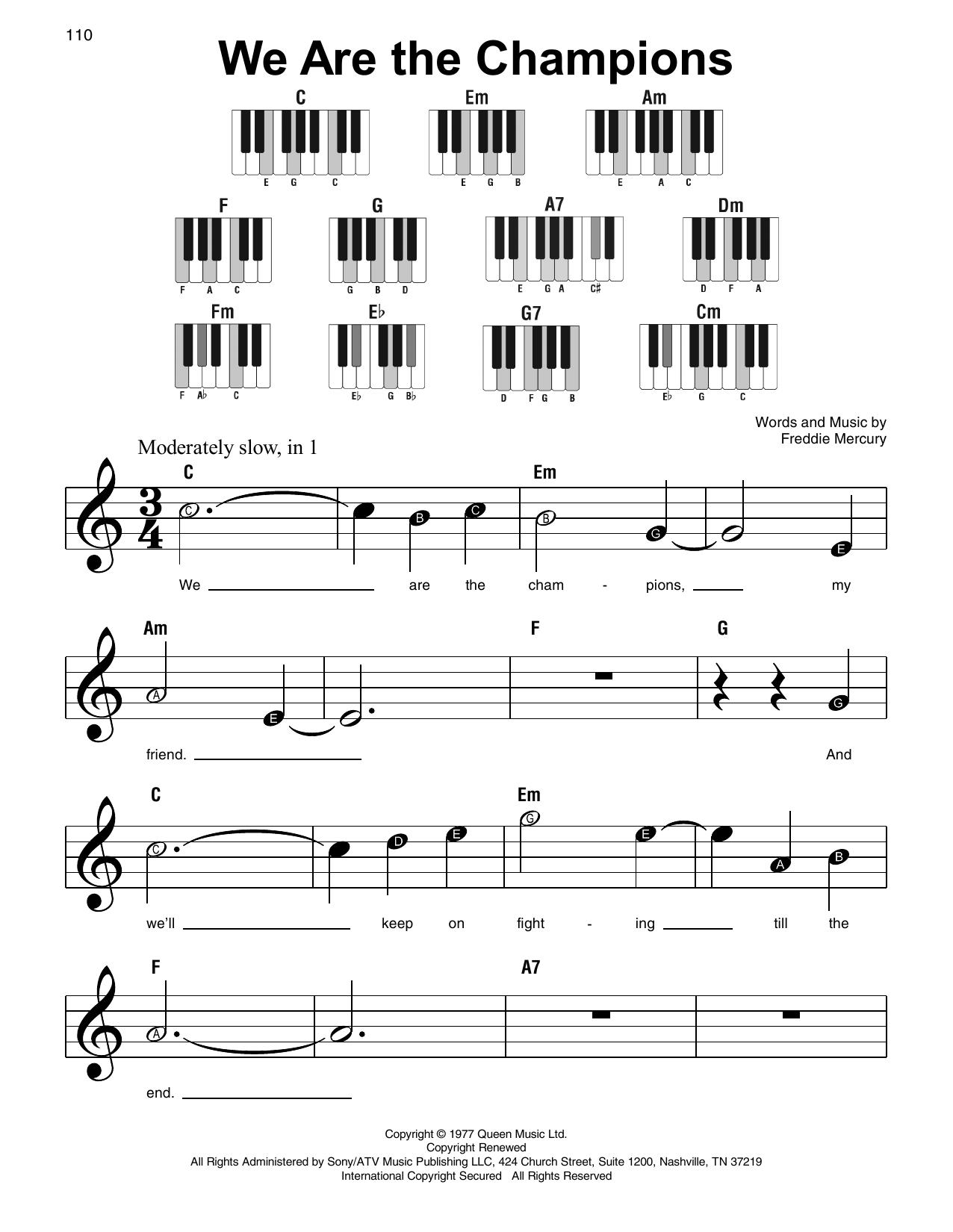 We Are The Champions (Super Easy Piano)