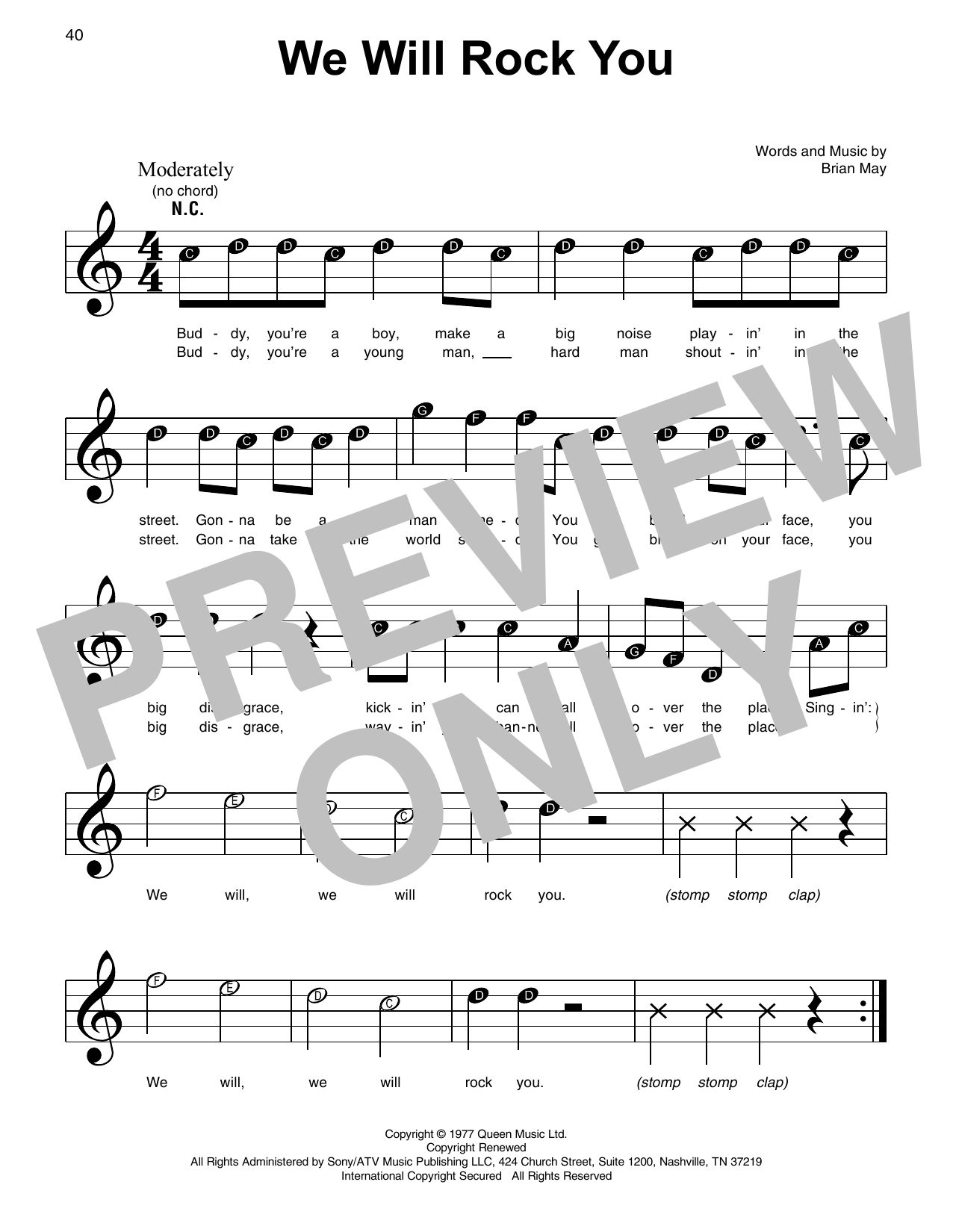 We Will Rock You (Super Easy Piano)