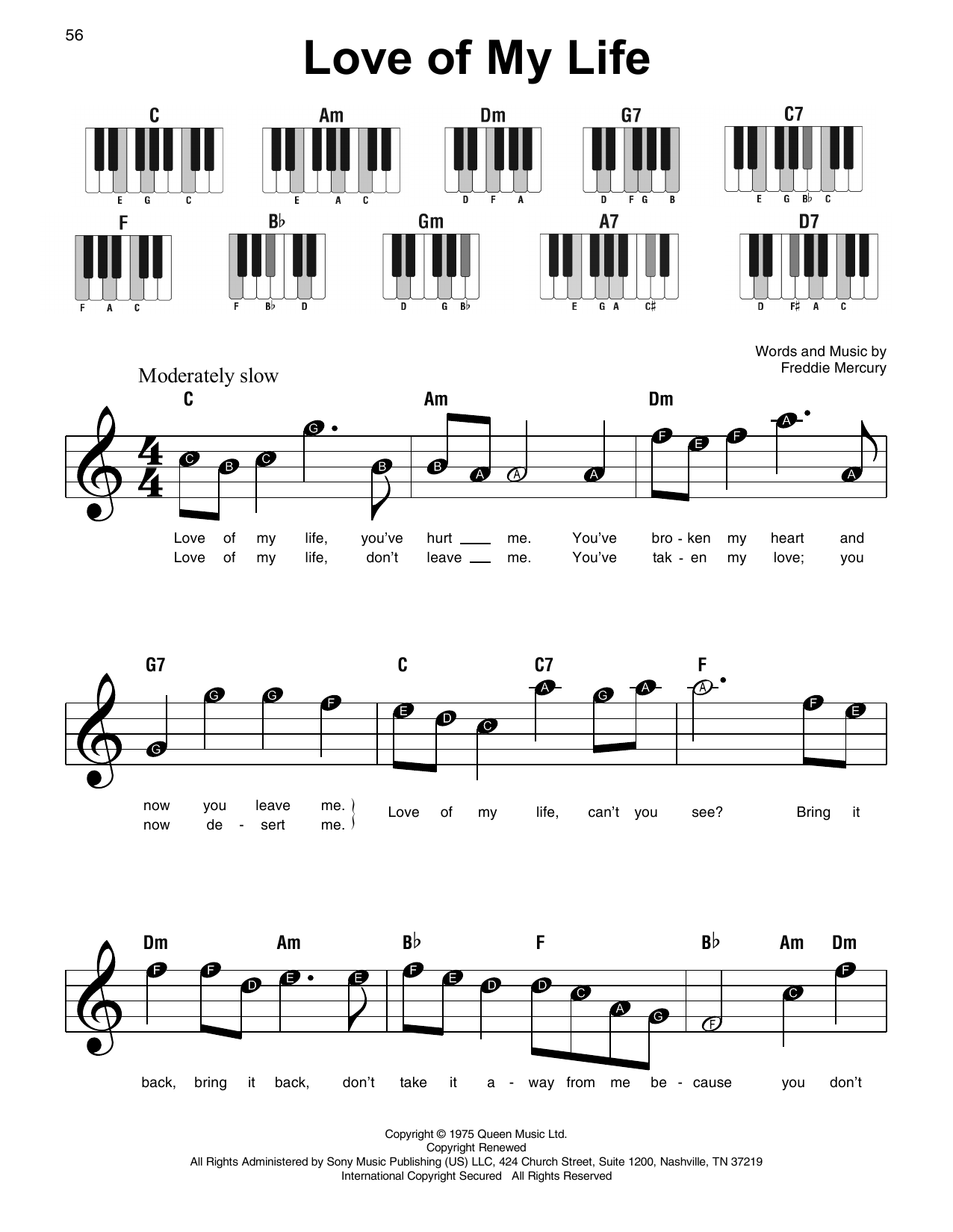 Love Of My Life Sheet Music Queen Super Easy Piano