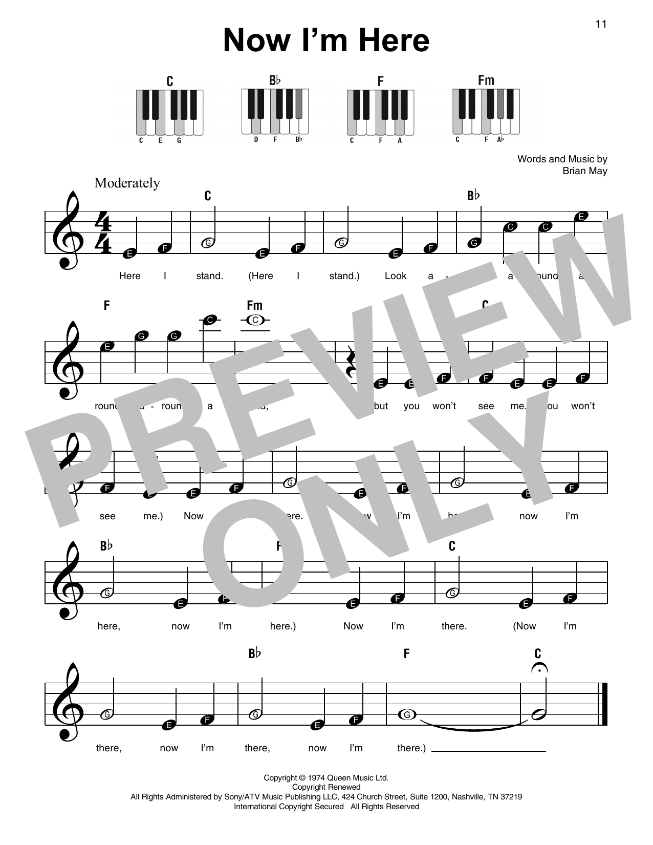 Now I'm Here (Super Easy Piano)