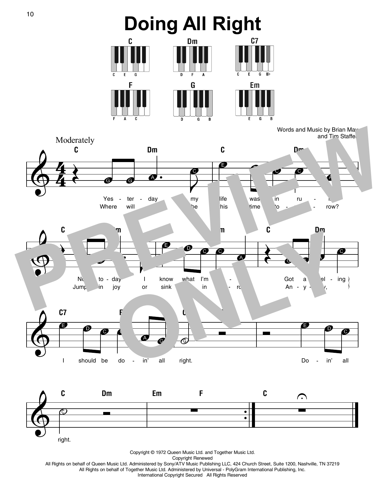 Doing All Right (Super Easy Piano)