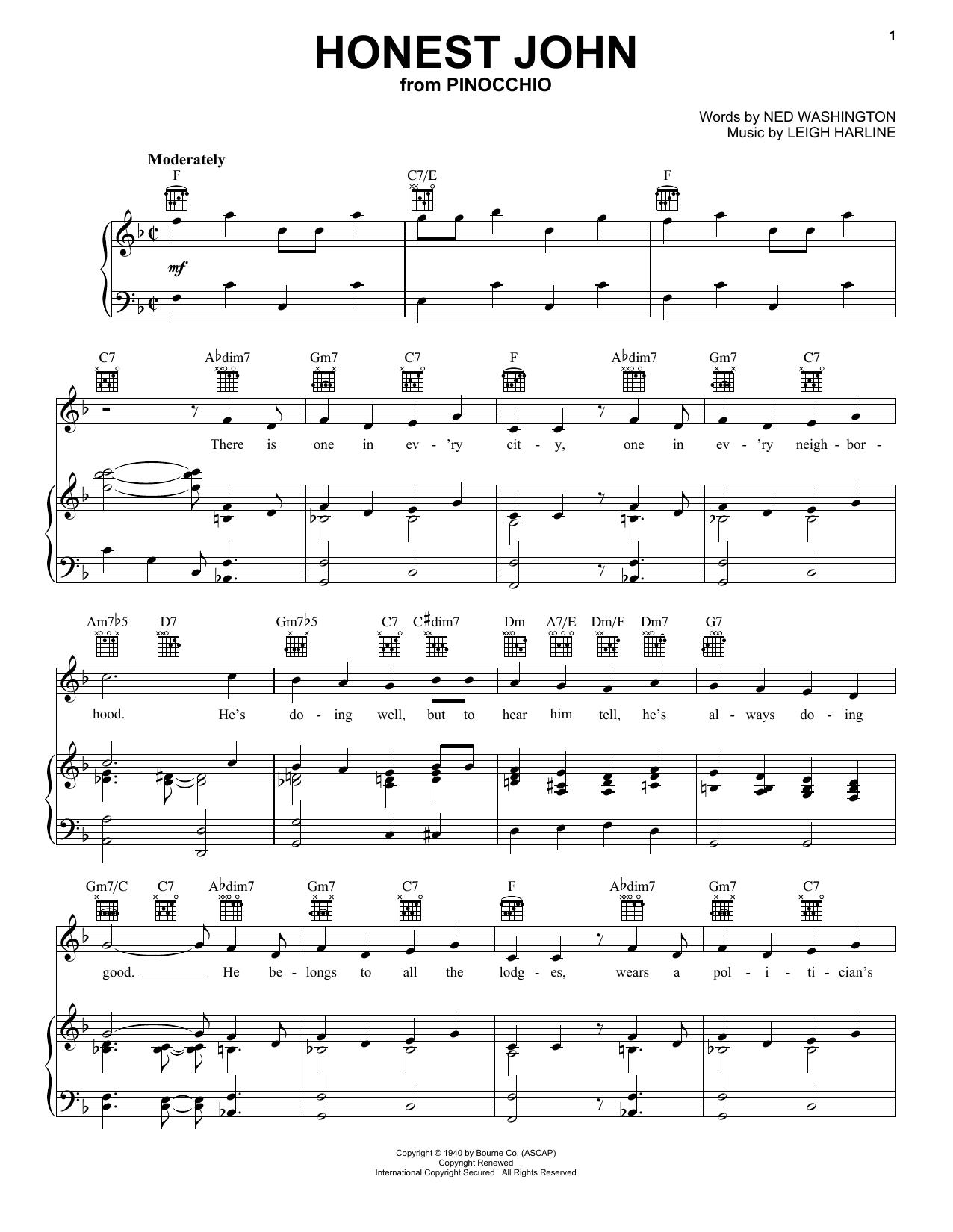Honest John (from Walt Disney's Pinocchio) (Piano, Vocal & Guitar (Right-Hand Melody))