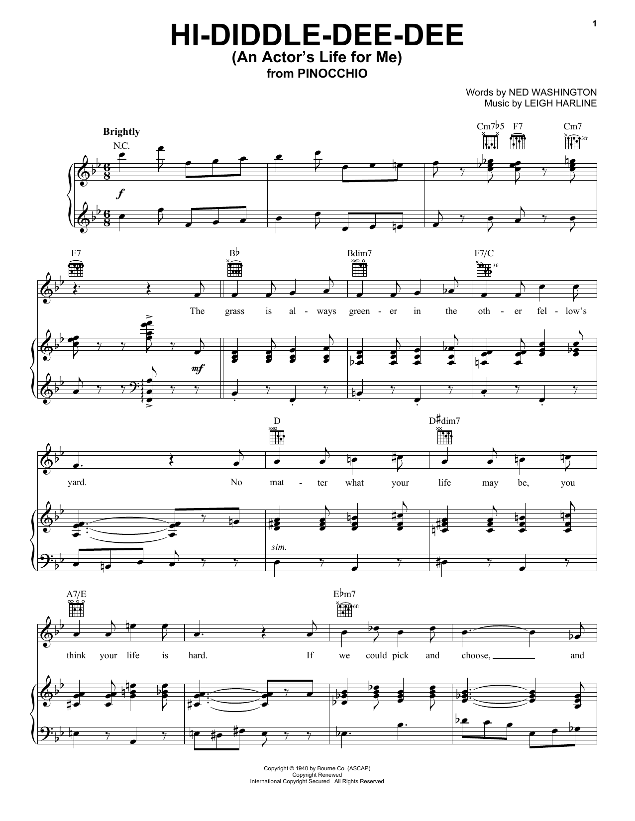 Hi-Diddle-Dee-Dee (An Actor's Life For Me) (from Walt Disney's Pinocchio) (Piano, Vocal & Guitar (Right-Hand Melody))