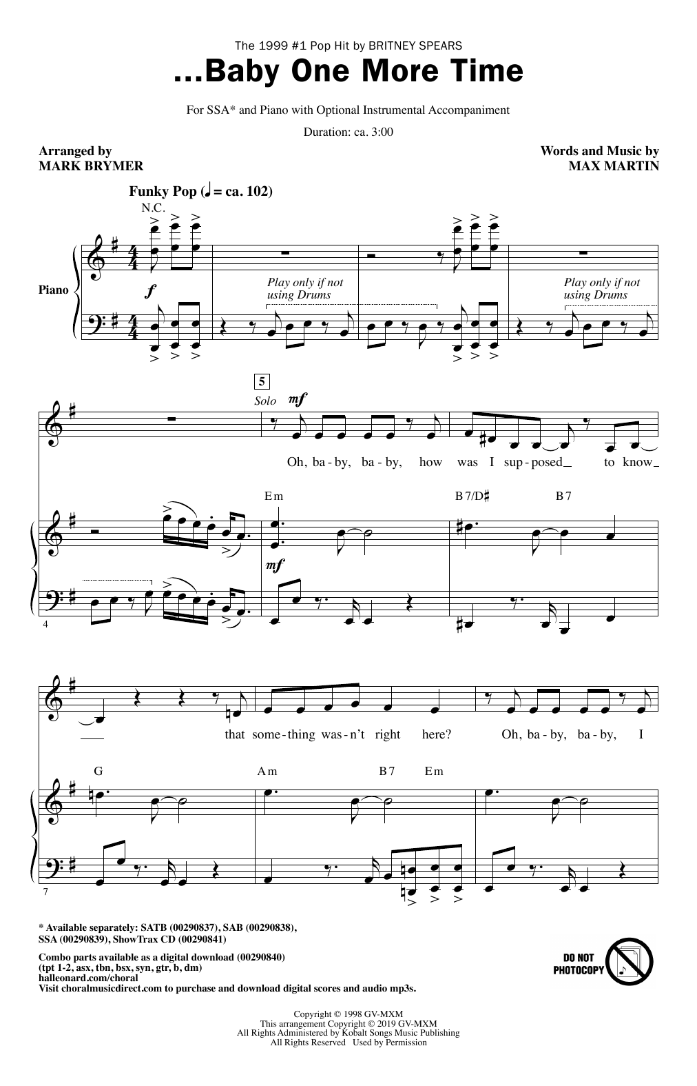 ...Baby One More Time (arr. Mark Brymer) (SSA Choir)