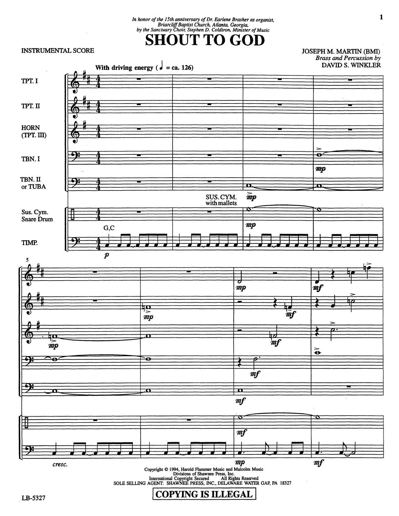 Shout to God - Full Score Partition Digitale