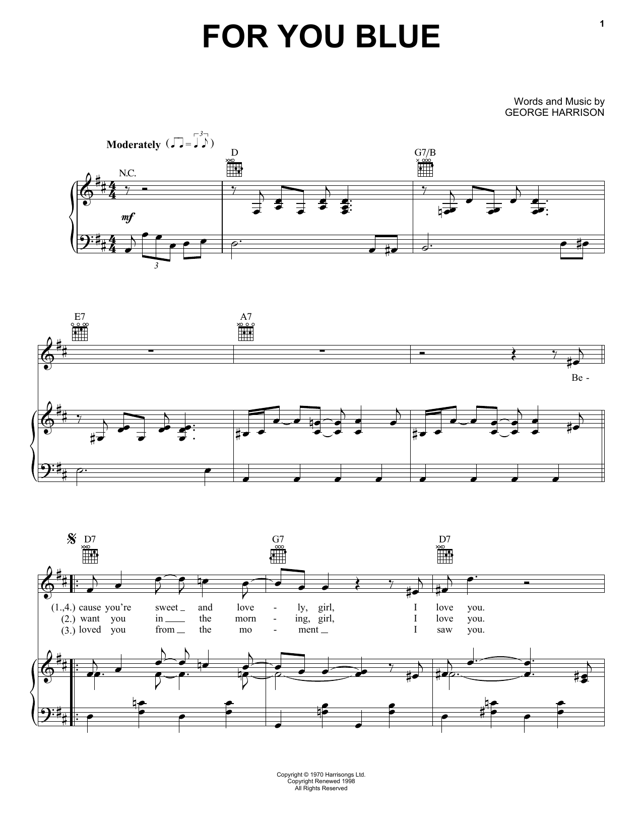 For You Blue (Piano, Vocal & Guitar (Right-Hand Melody))
