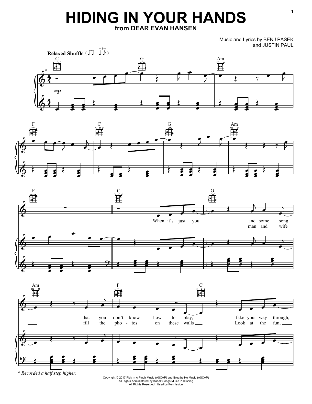 Hiding In Your Hands (from Dear Evan Hansen) (Piano, Vocal & Guitar (Right-Hand Melody))