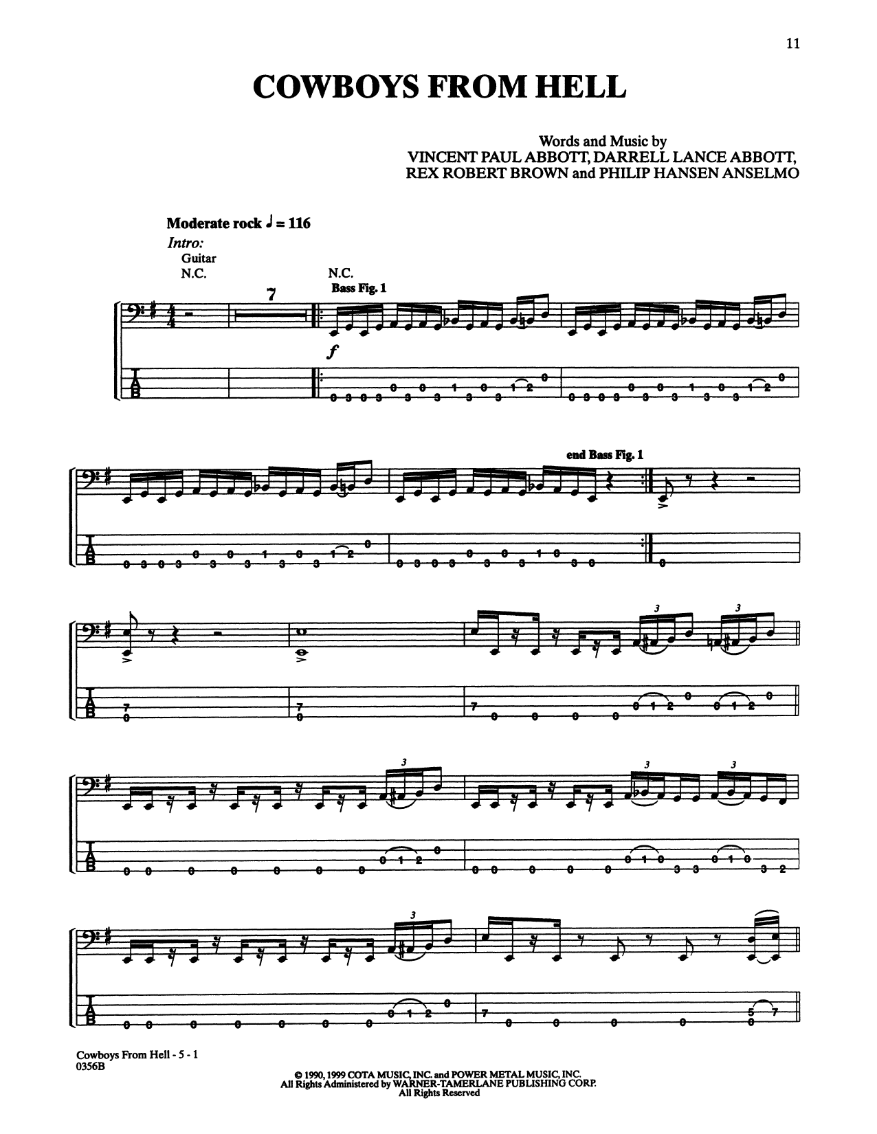 Cowboys From Hell (Bass Guitar Tab)