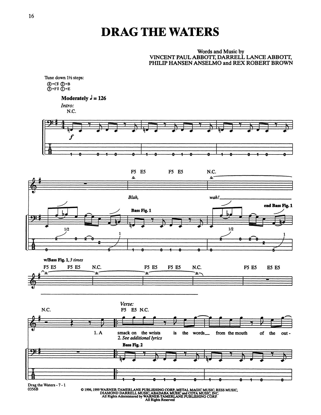 Drag The Waters (Bass Guitar Tab)