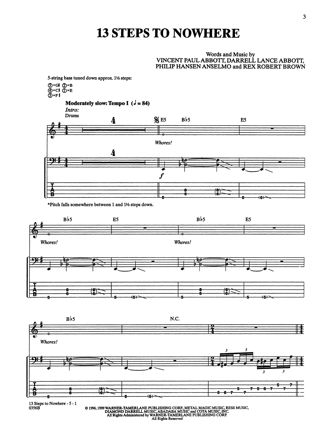 13 Steps To Nowhere (Bass Guitar Tab)