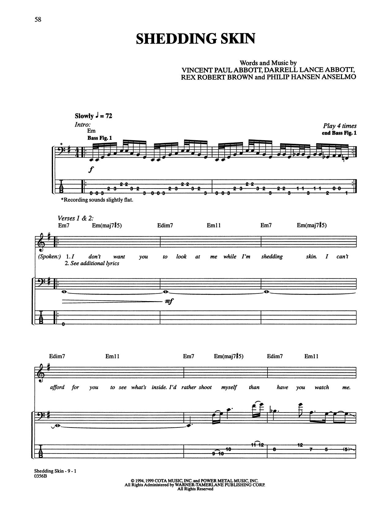 Shedding Skin (Bass Guitar Tab)