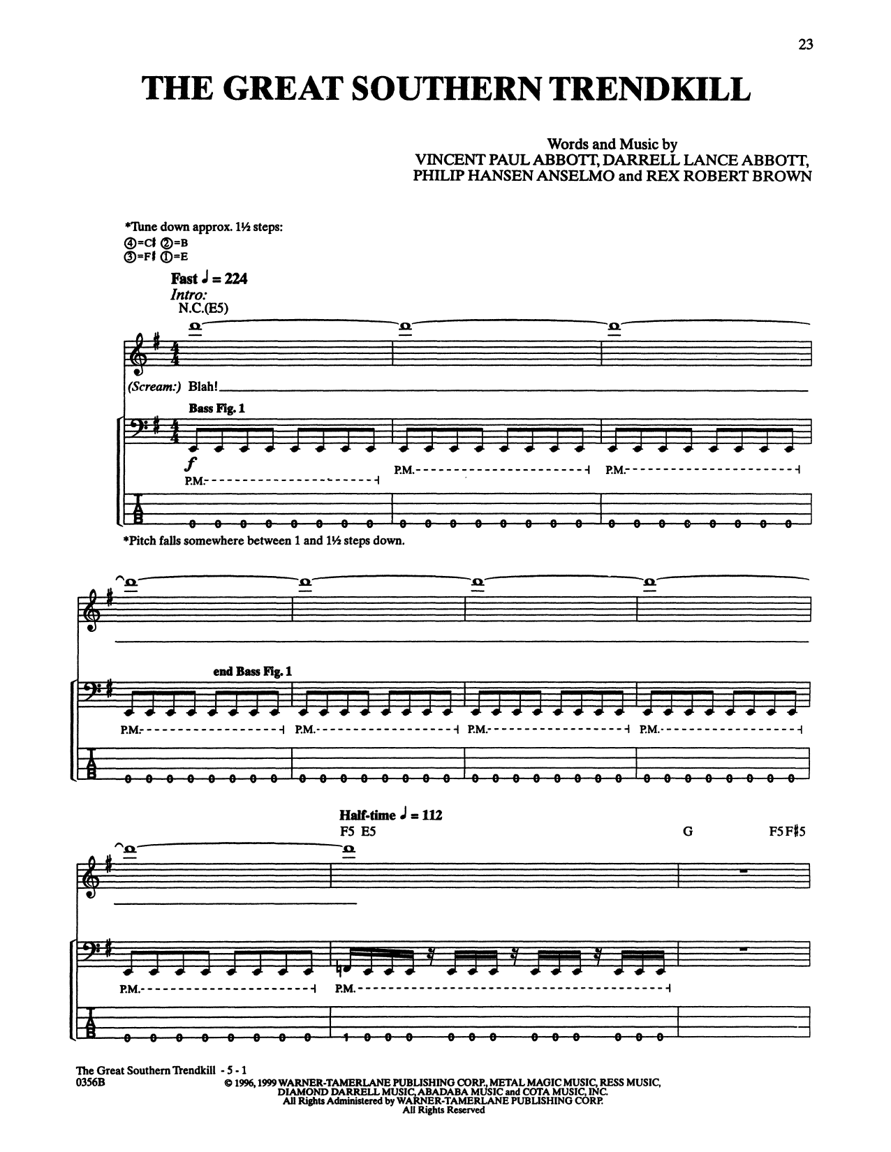 The Great Southern Trendkill (Bass Guitar Tab)