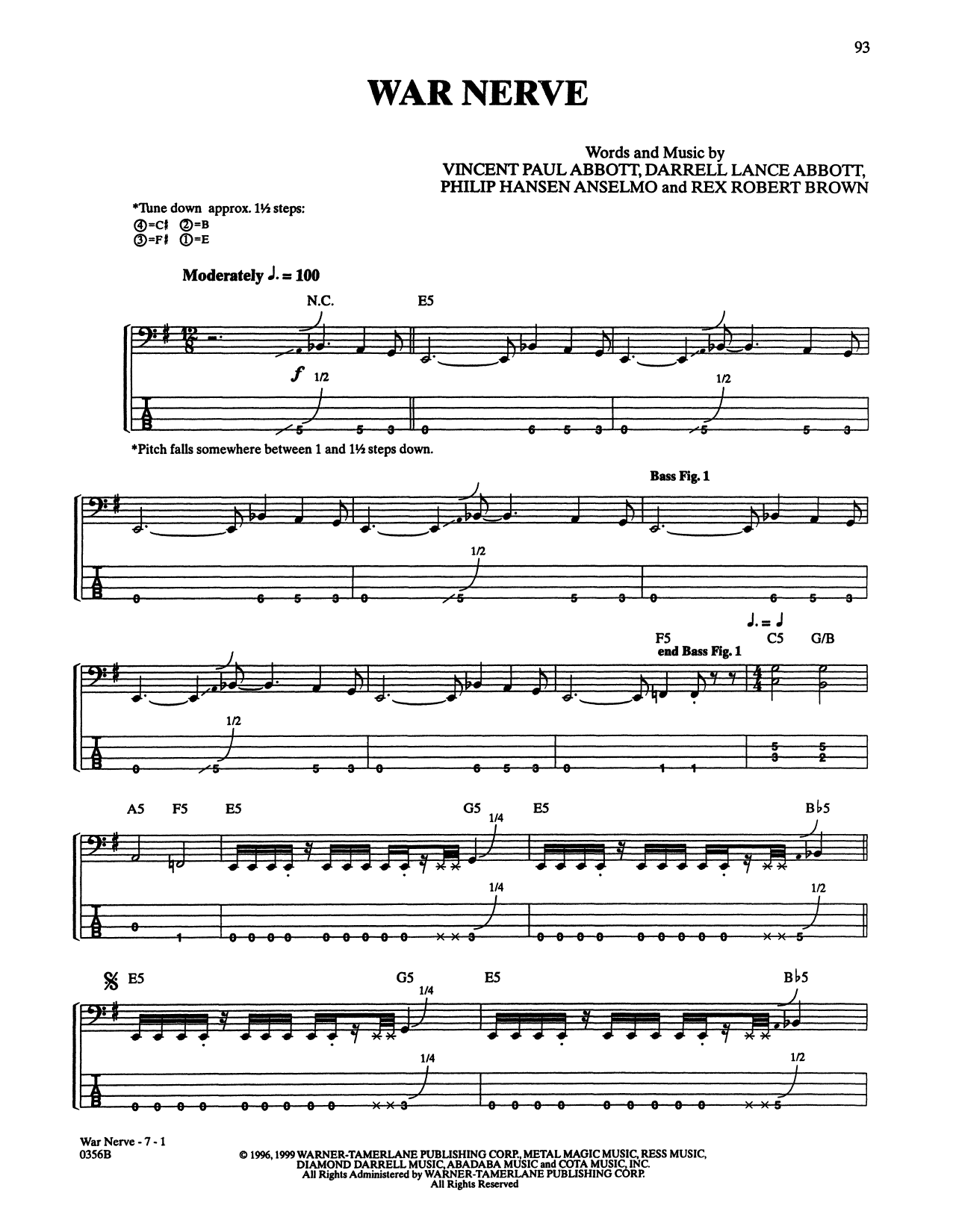 War Nerve (Bass Guitar Tab)