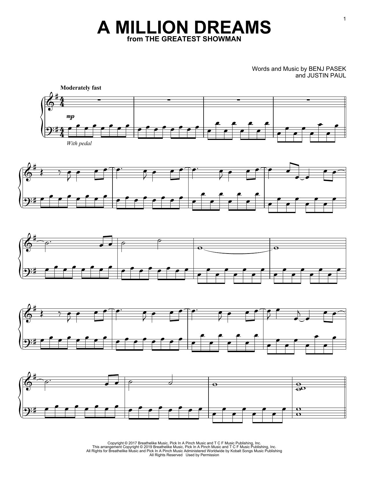 A Million Dreams (from The Greatest Showman) (Piano Solo)