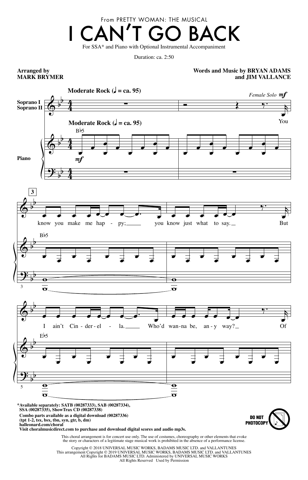 I Can't Go Back (from Pretty Woman: The Musical) (arr. Mark Brymer) (SSA Choir)