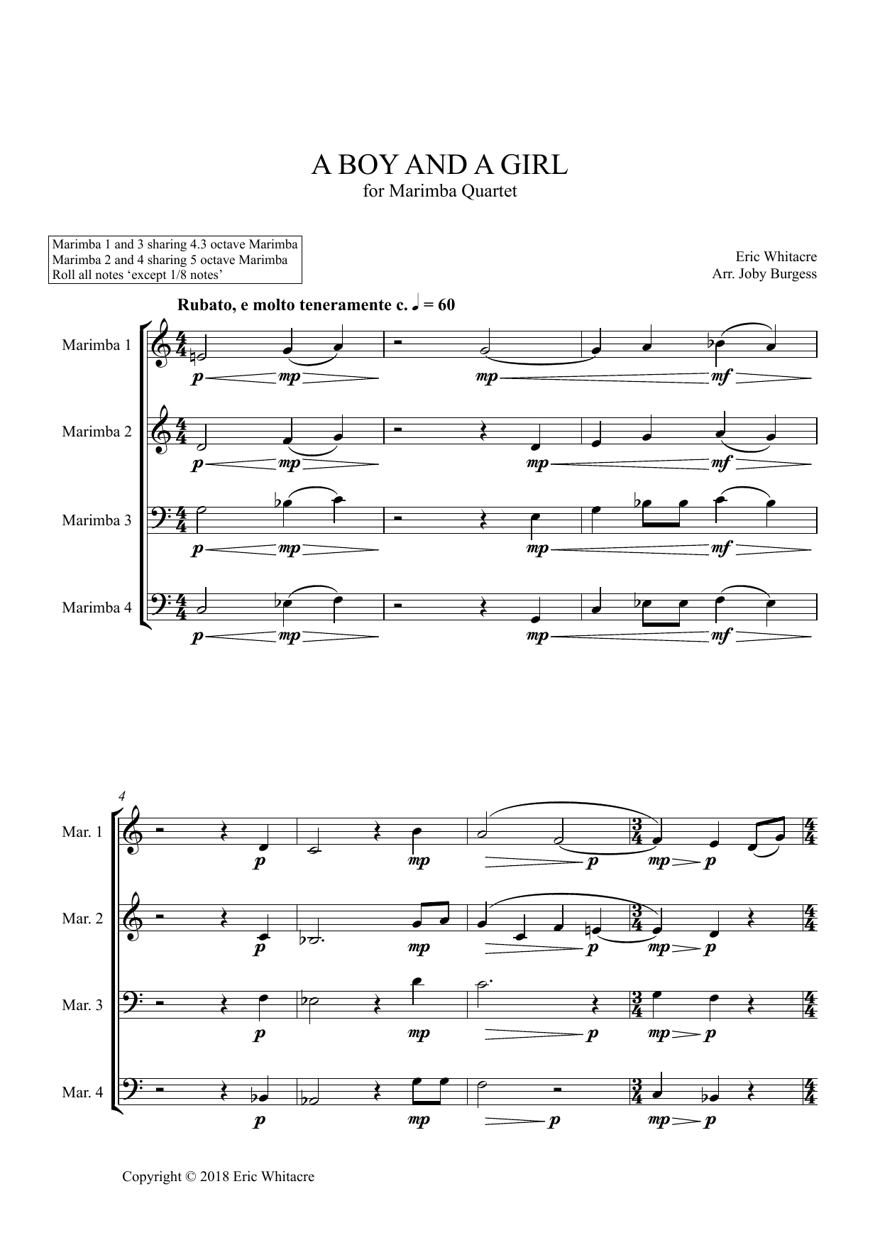 A Boy And A Girl for Marimba Quartet (arr. Joby Burgess) - Full Score Sheet Music