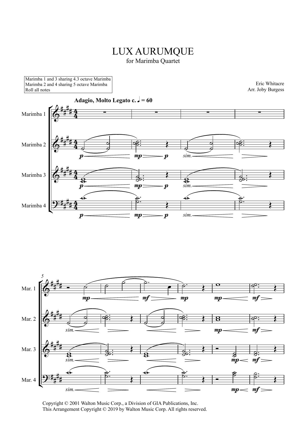 Lux Aurumque for Marimba Quartet (arr. Joby Burgess) - Full Score Digitale Noten