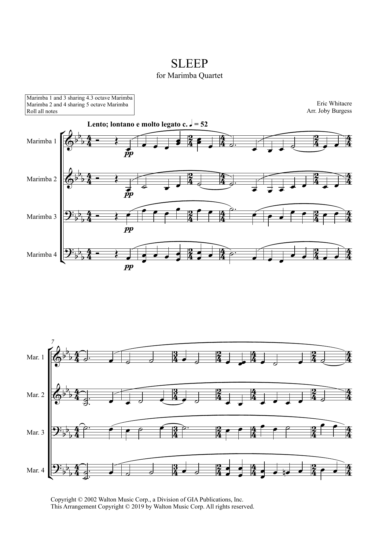 Sleep for Marimba Quartet (arr. Joby Burgess) - Full Score Sheet Music