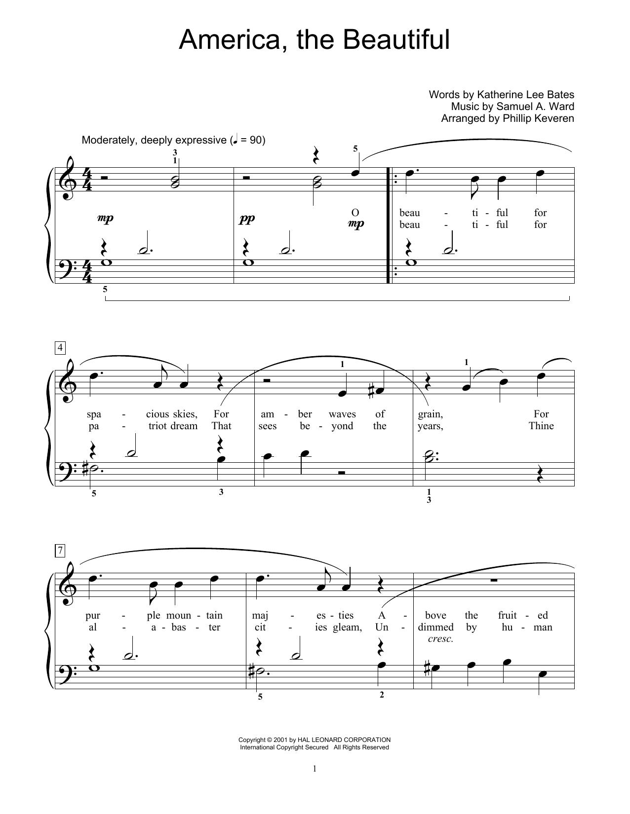 America, The Beautiful (arr. Phillip Keveren) (Educational Piano)