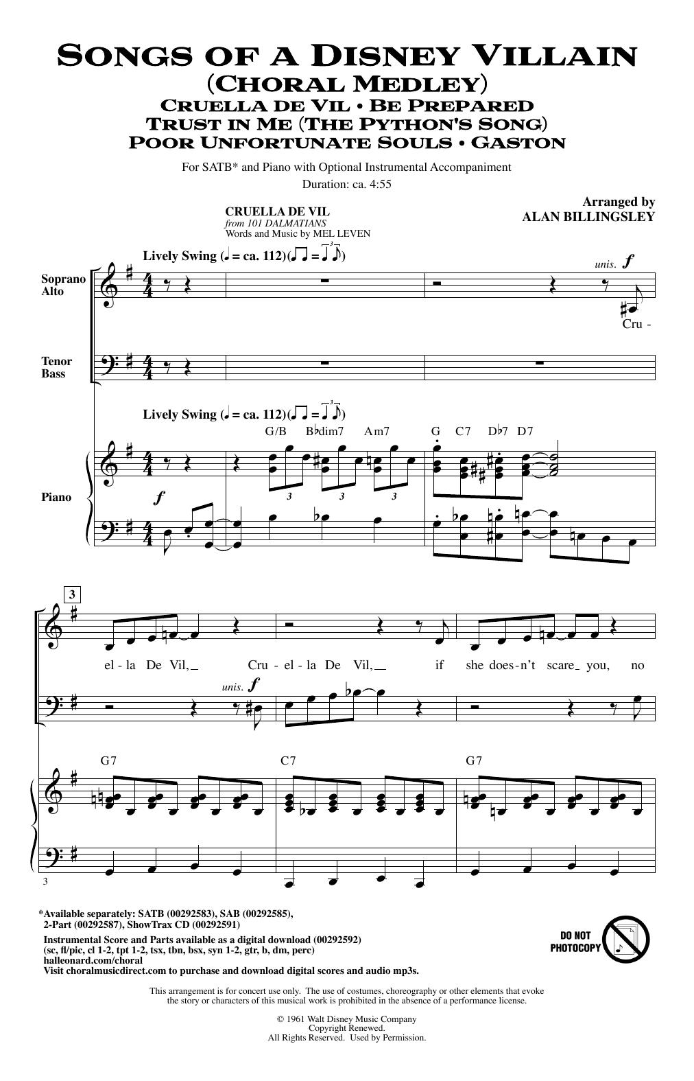Songs Of A Disney Villain (Choral Medley) (SATB Choir)