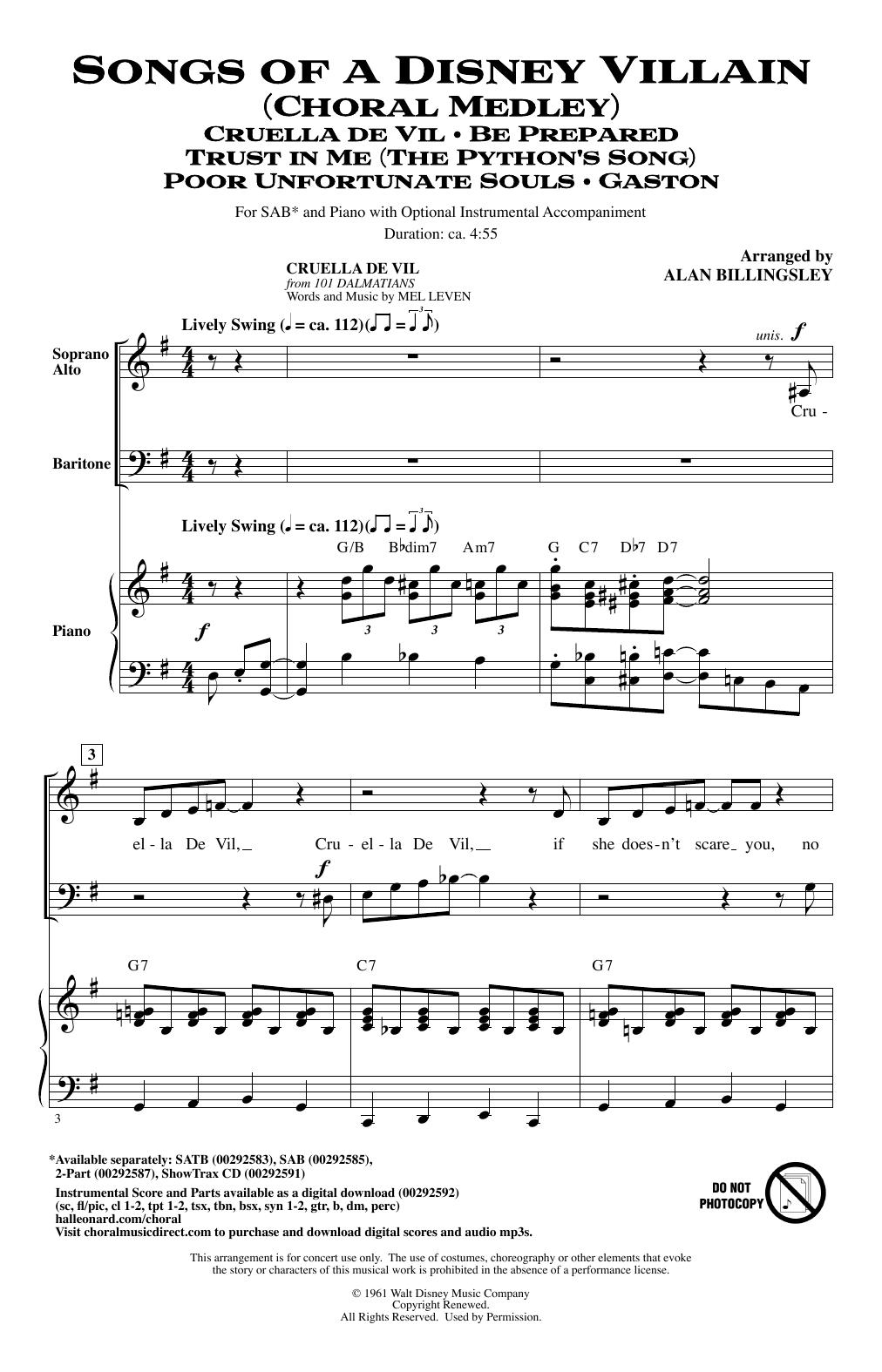 Songs Of A Disney Villain (Choral Medley) (SAB Choir)