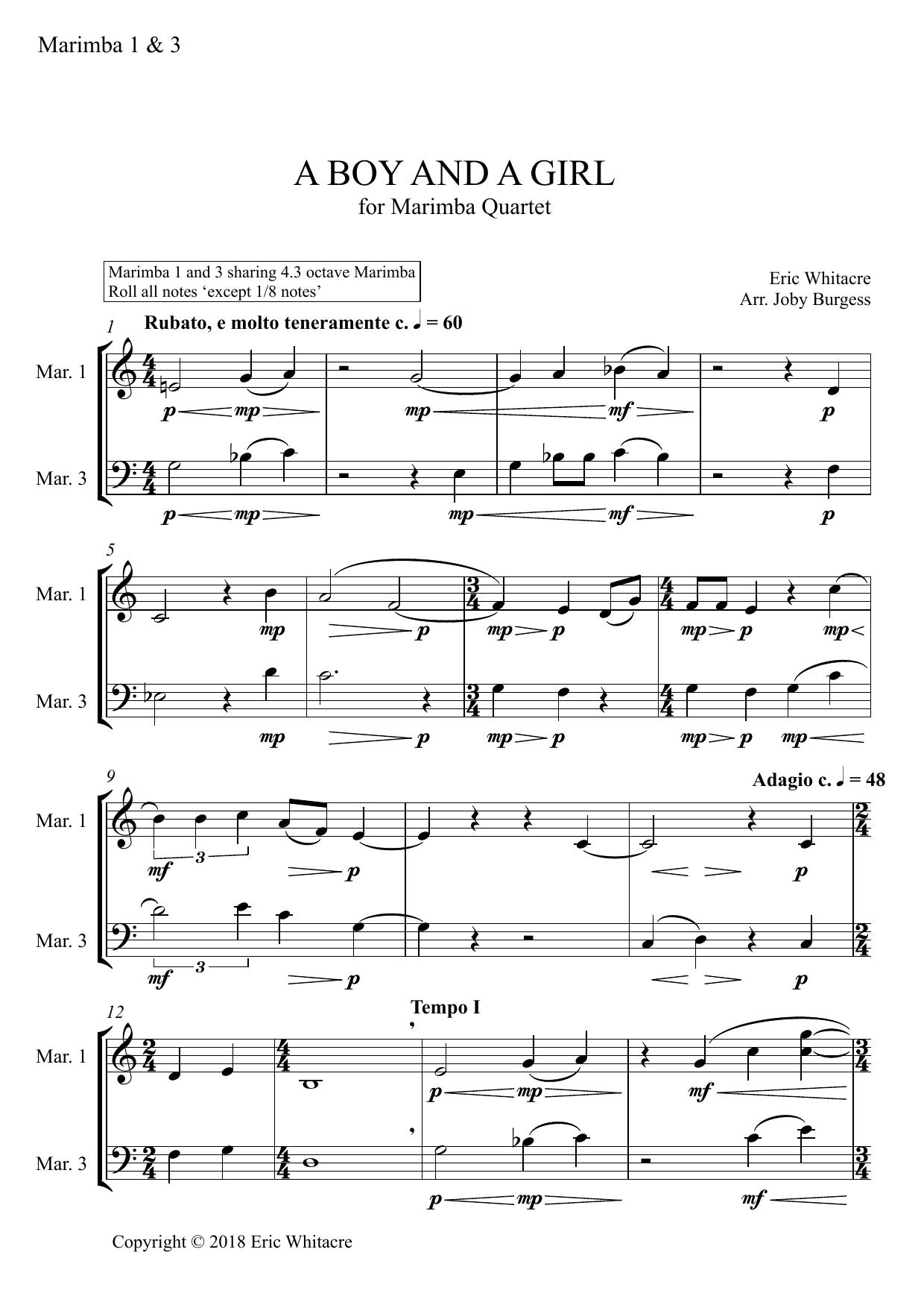 A Boy And A Girl for Marimba Quartet (arr. Joby Burgess) - MARIMBA 1 & 3 Sheet Music